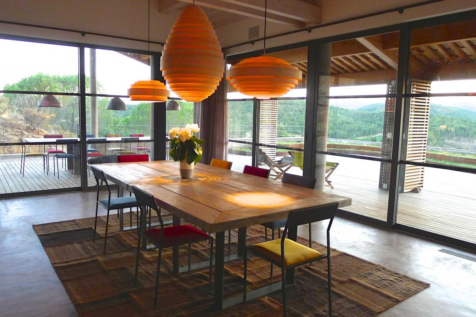 The indoor dining space is perfect for family dinners