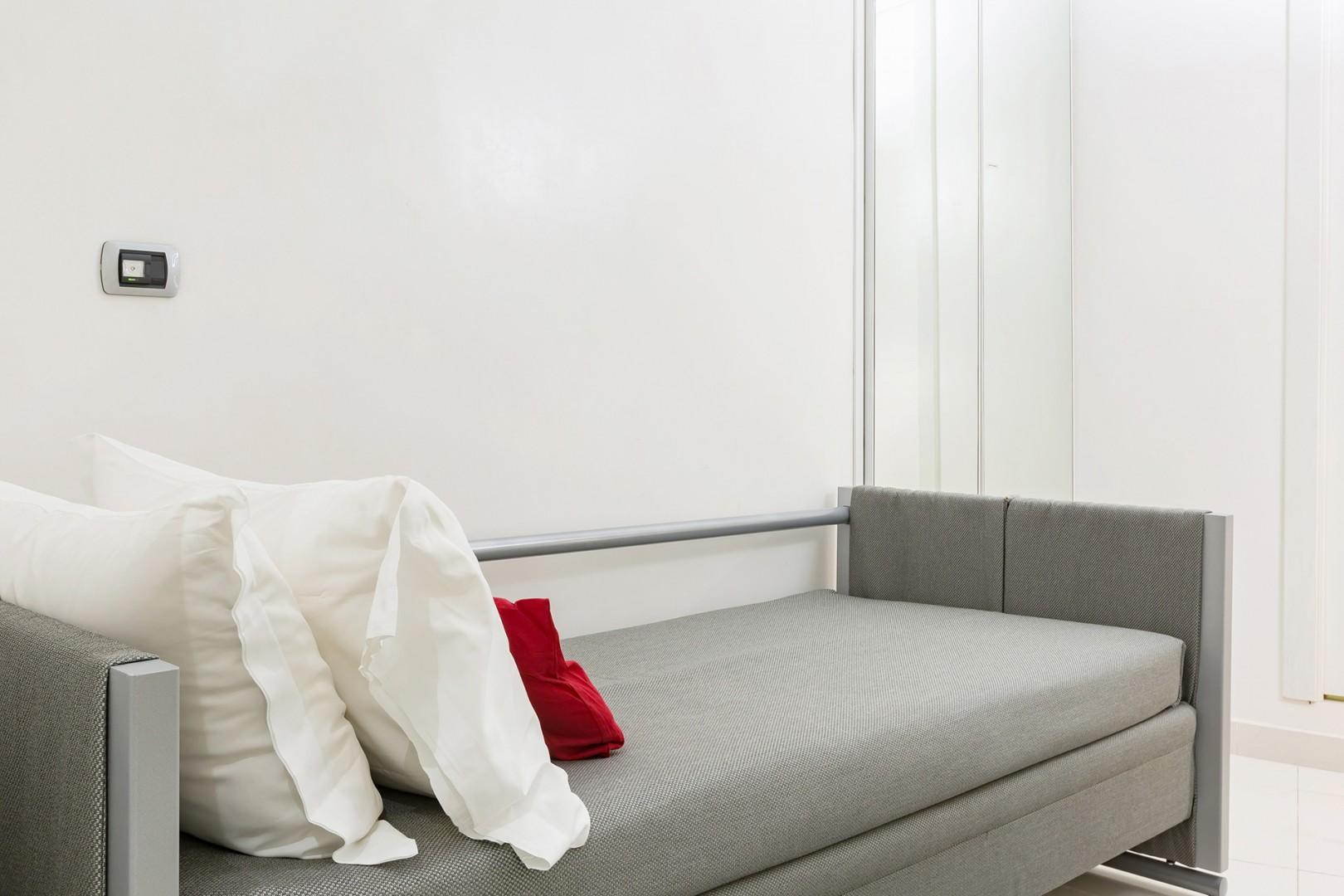 This is the single bed configuration in bedroom 2.