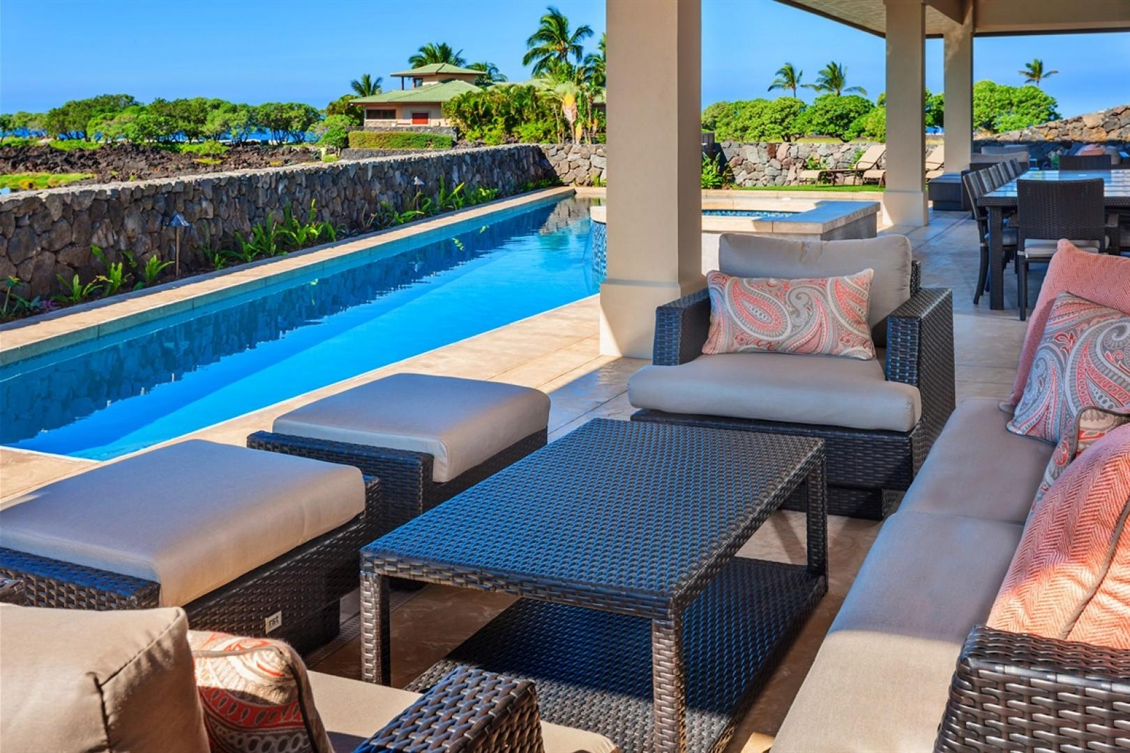 Enjoy the year round tropical climate on your lanai with ample lounge and dining seating.