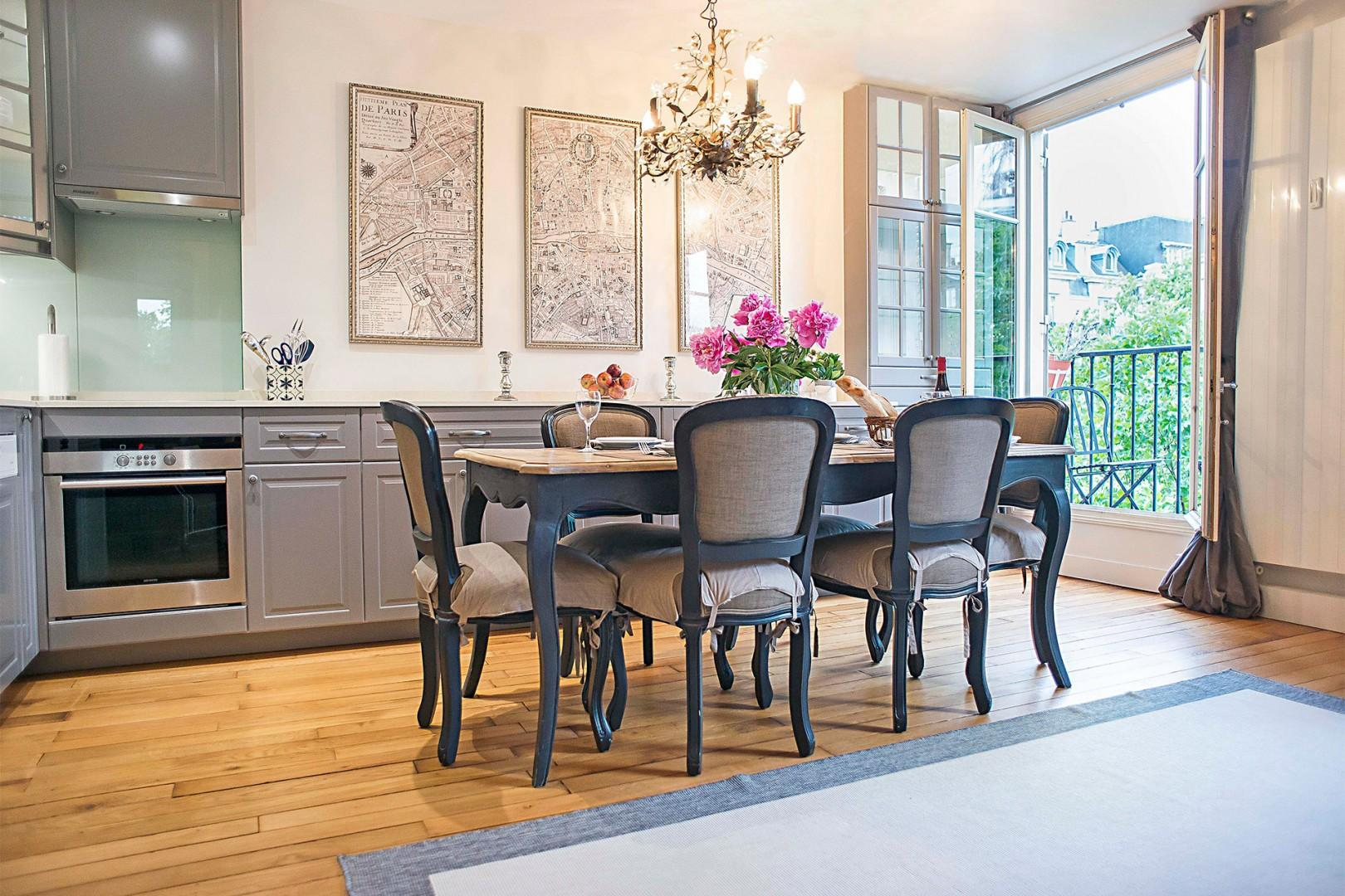 The dining table comfortably seats six people - perfect for dinner parties!