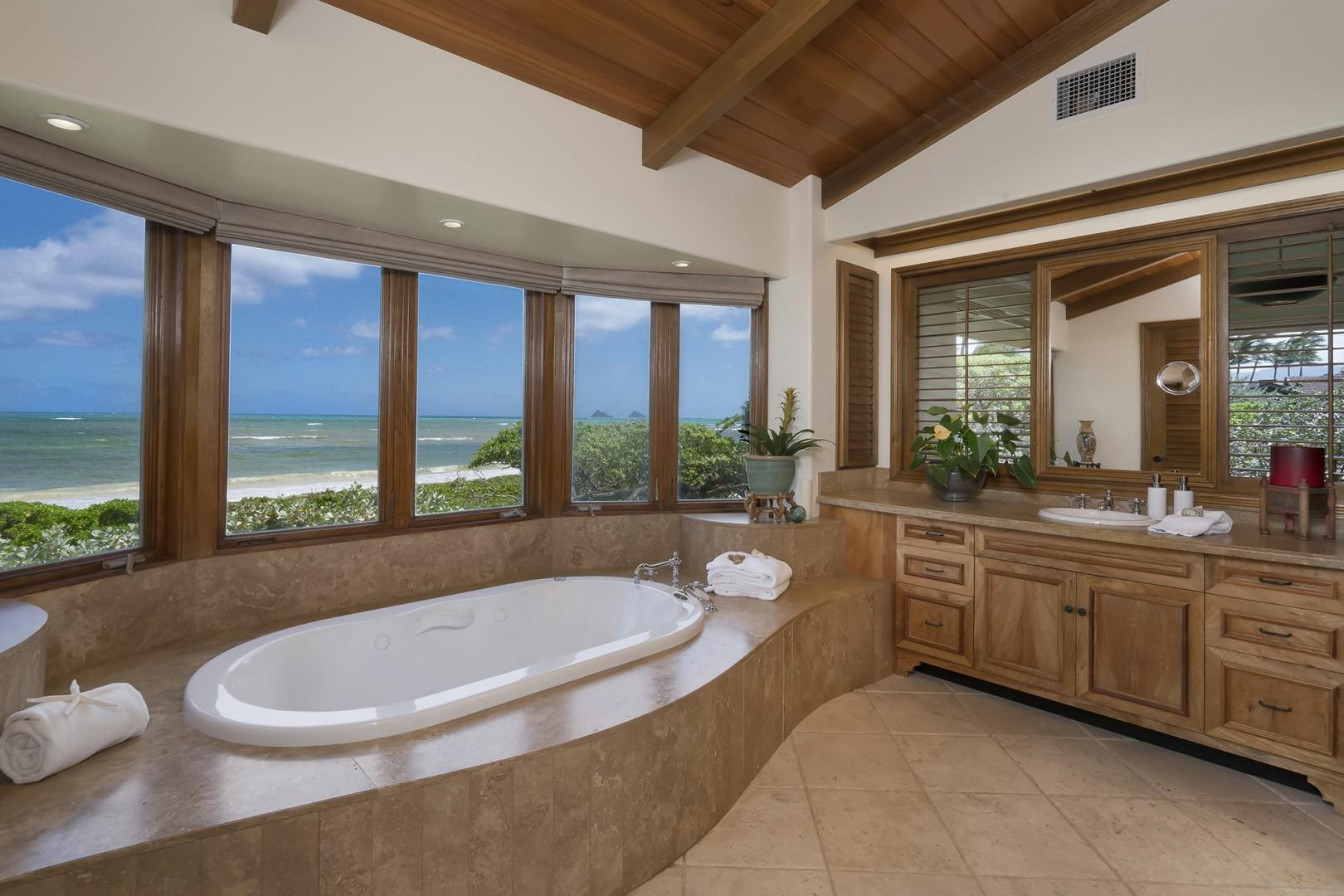 Main house: Master Bathroom with jetted tub and has walk in shower.