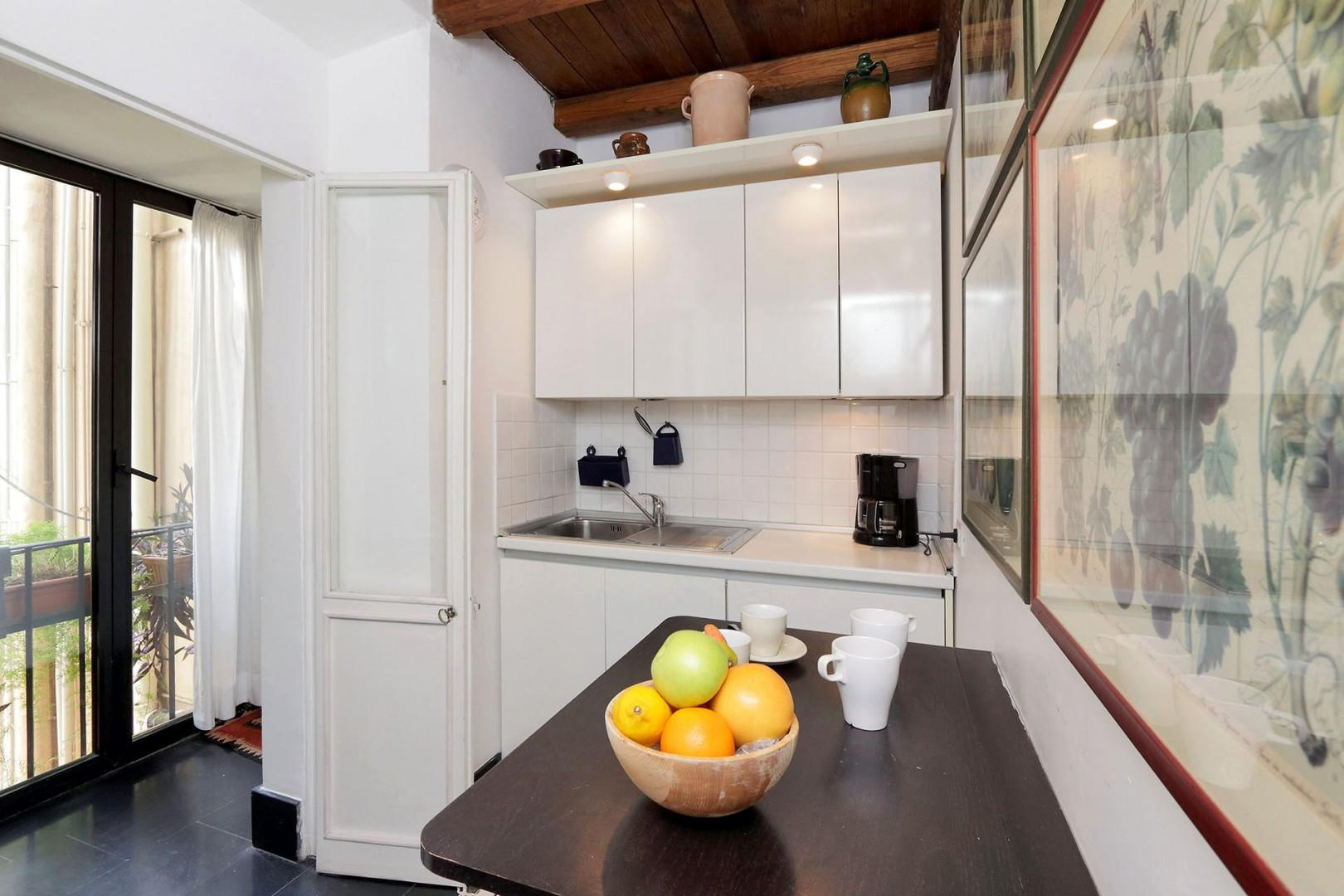 Fully equipped kitchen in Valentina is compact but functional.