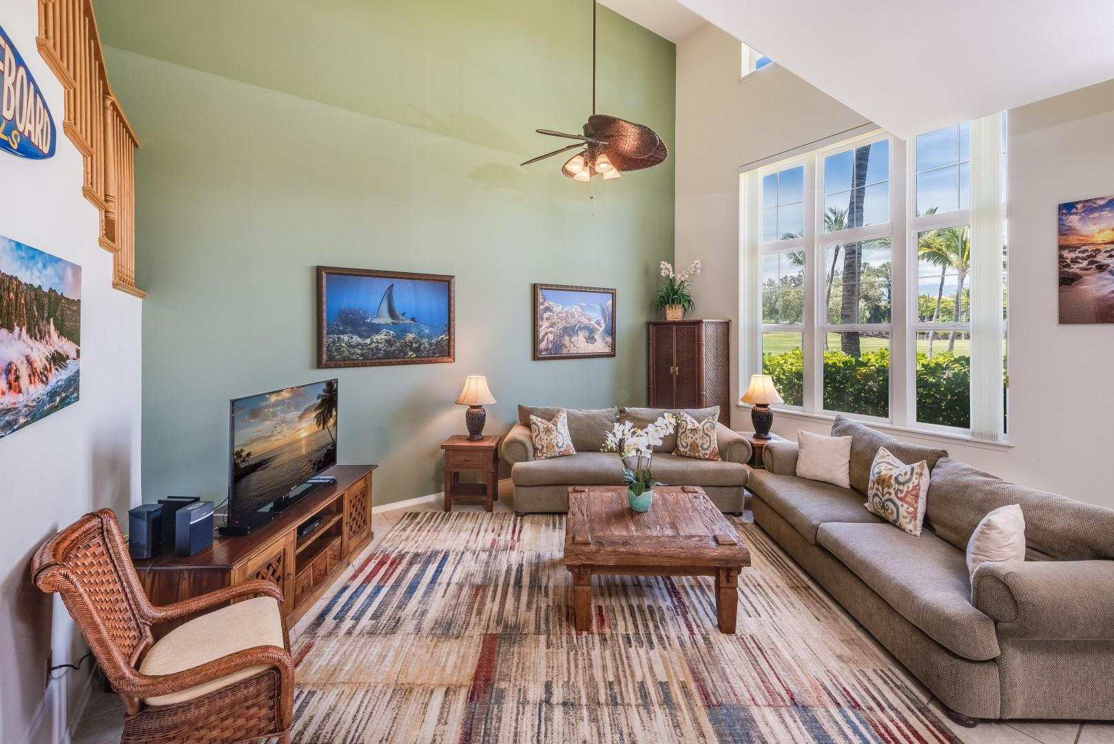 Sunlight Bathes the Spacious Living Room Through Large Picture Windows