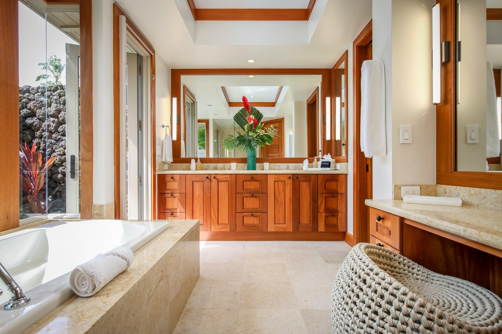 Guest Room 4's decadent full bath with soaking tub, walk-in shower, dual vanity and outdoor shower garden.