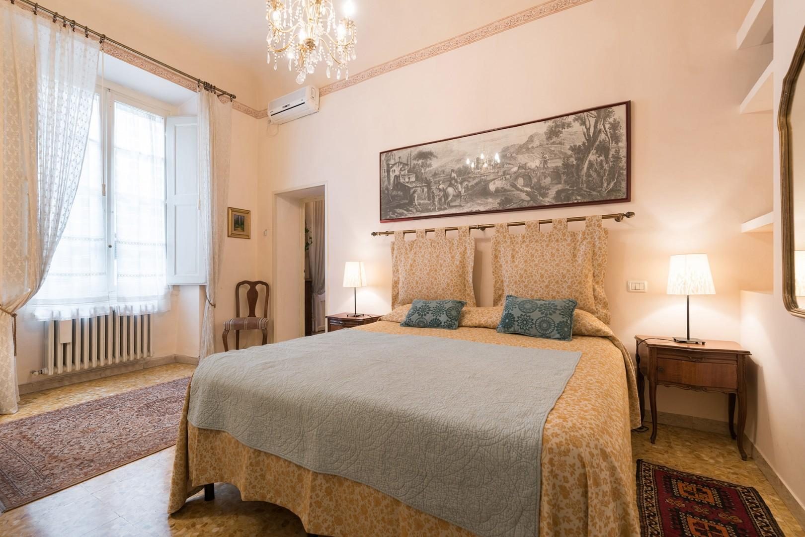 The bedroom is small but comfortable with two beds which can be made up as one.