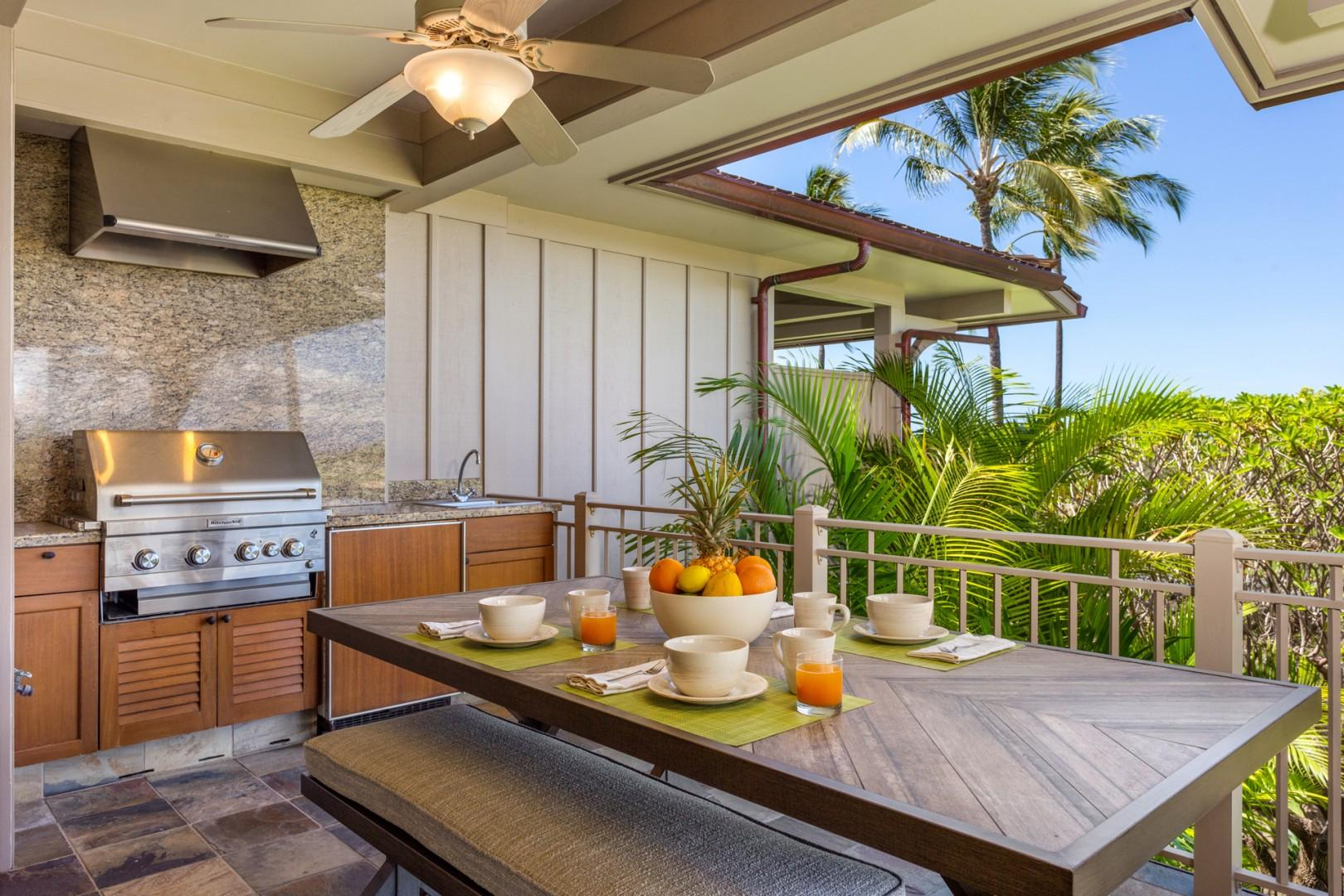 BBQ grill, large dining table and ample plush seating on the lanai - perfect for living and lounging in paradise!