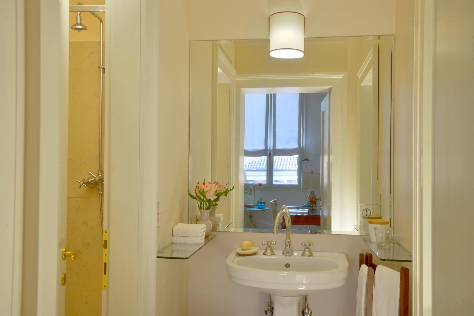Bathroom with shower accessed from the entry area.