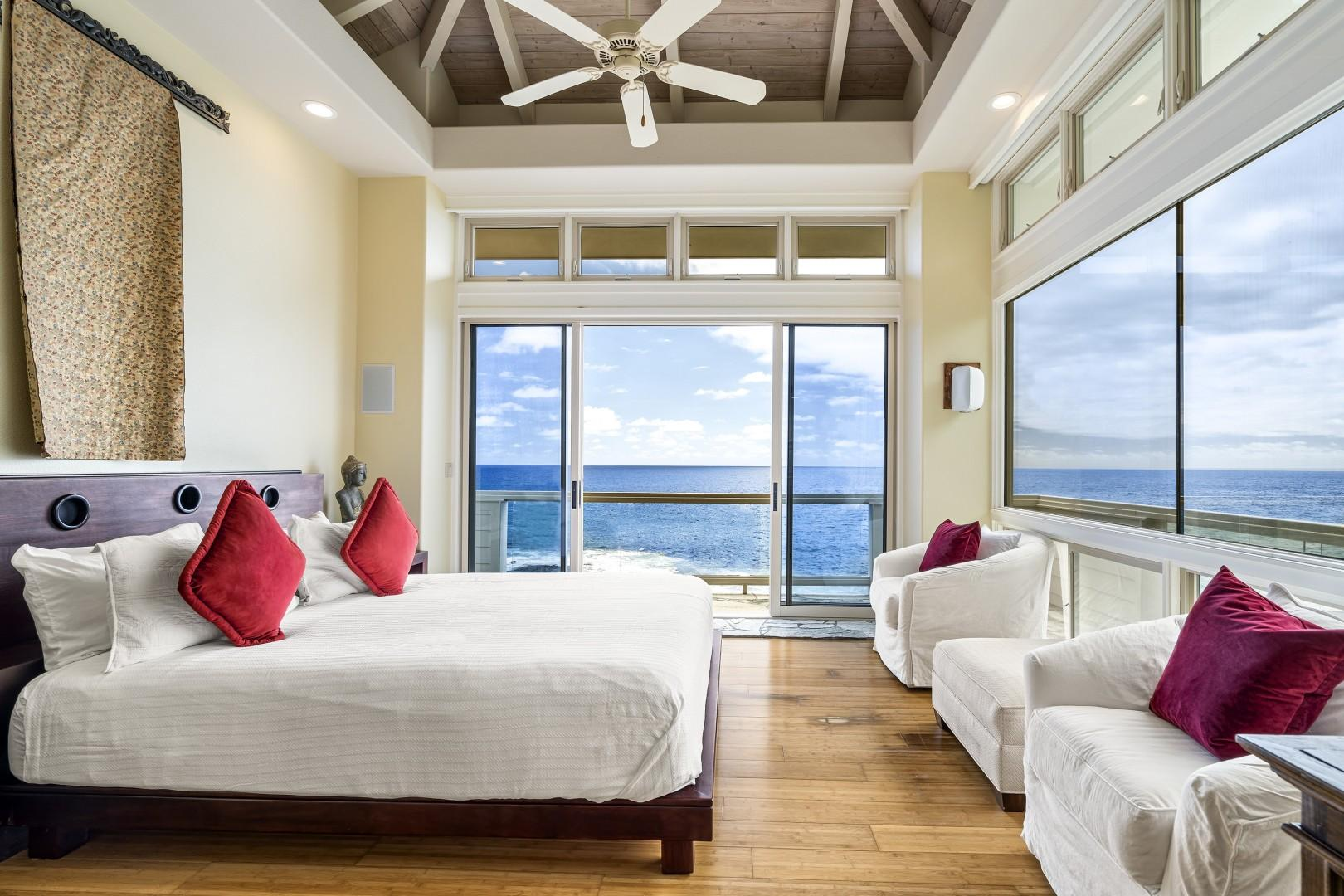 Additional seating and a private balcony can also be found in the Master bedroom