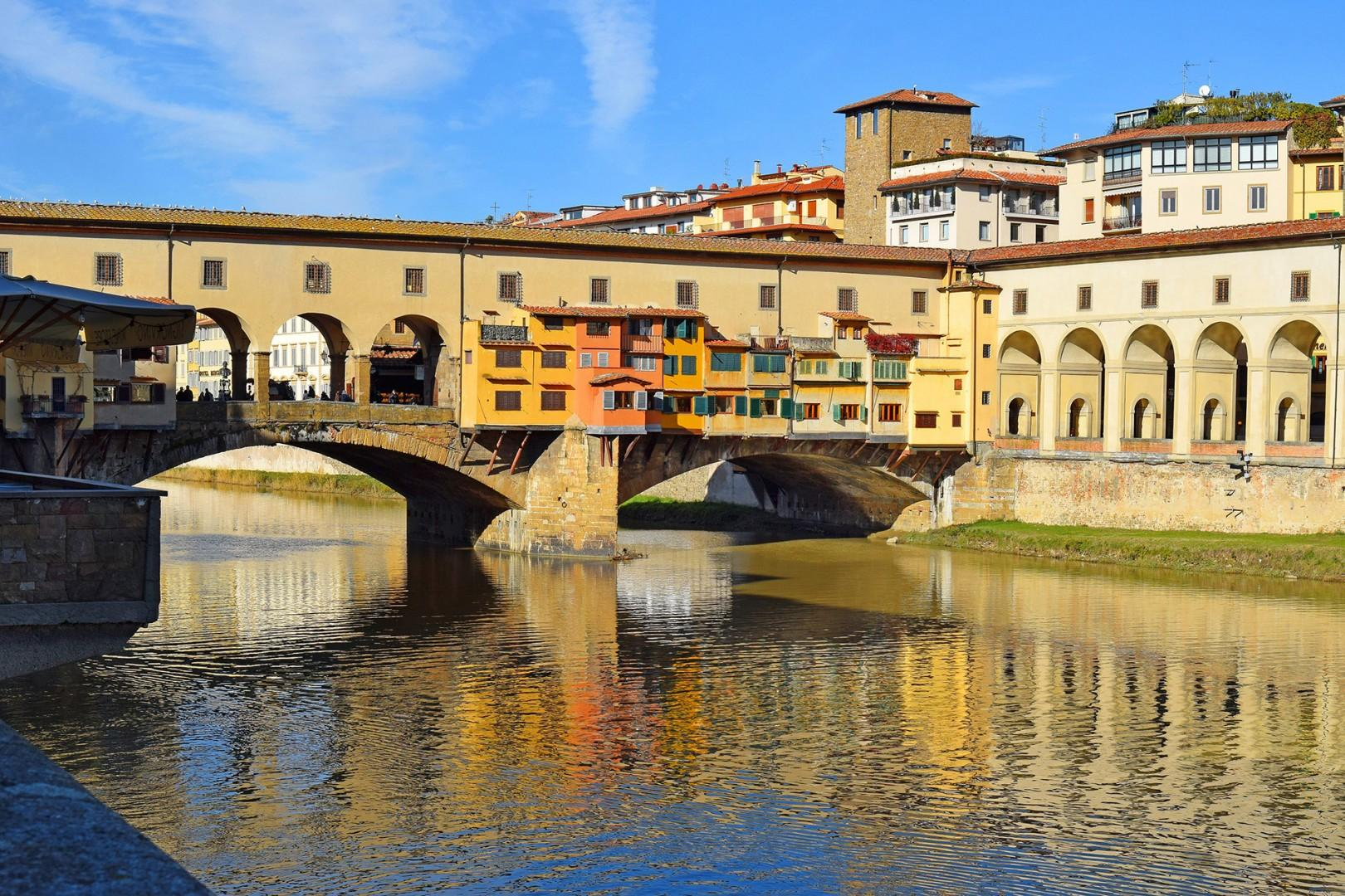 The Ponte Vecchio has graced the Arno river for 700 years. Fine jewelery shops adorn your stroll.