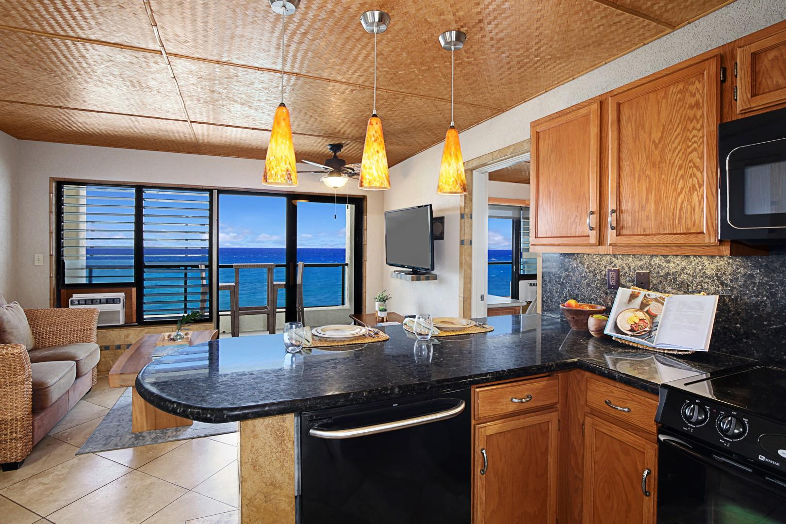 Kitchen with an ocean view
