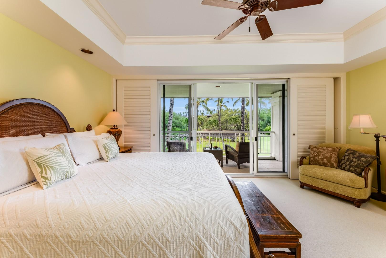 Primary Bedroom w/ King Size Bed & Private Lanai Overlooking Beautiful Gardens