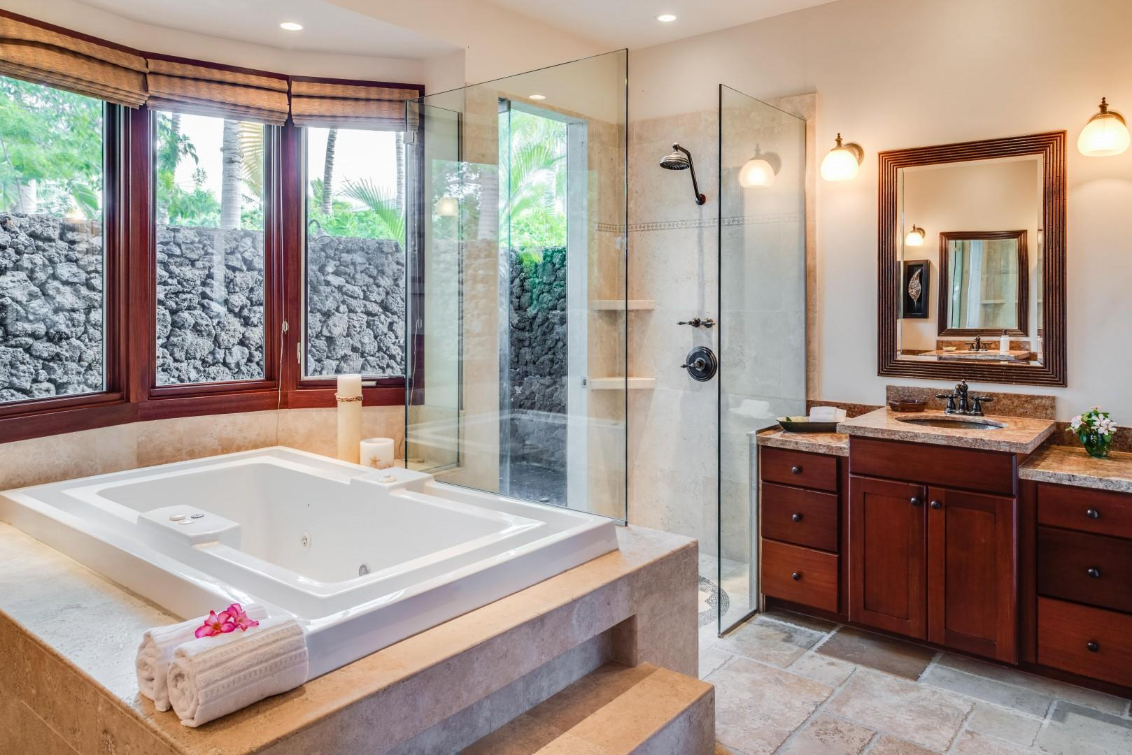 Master Bath w/ Deep Jacuzzi Tub & Glass Walk-in Shower