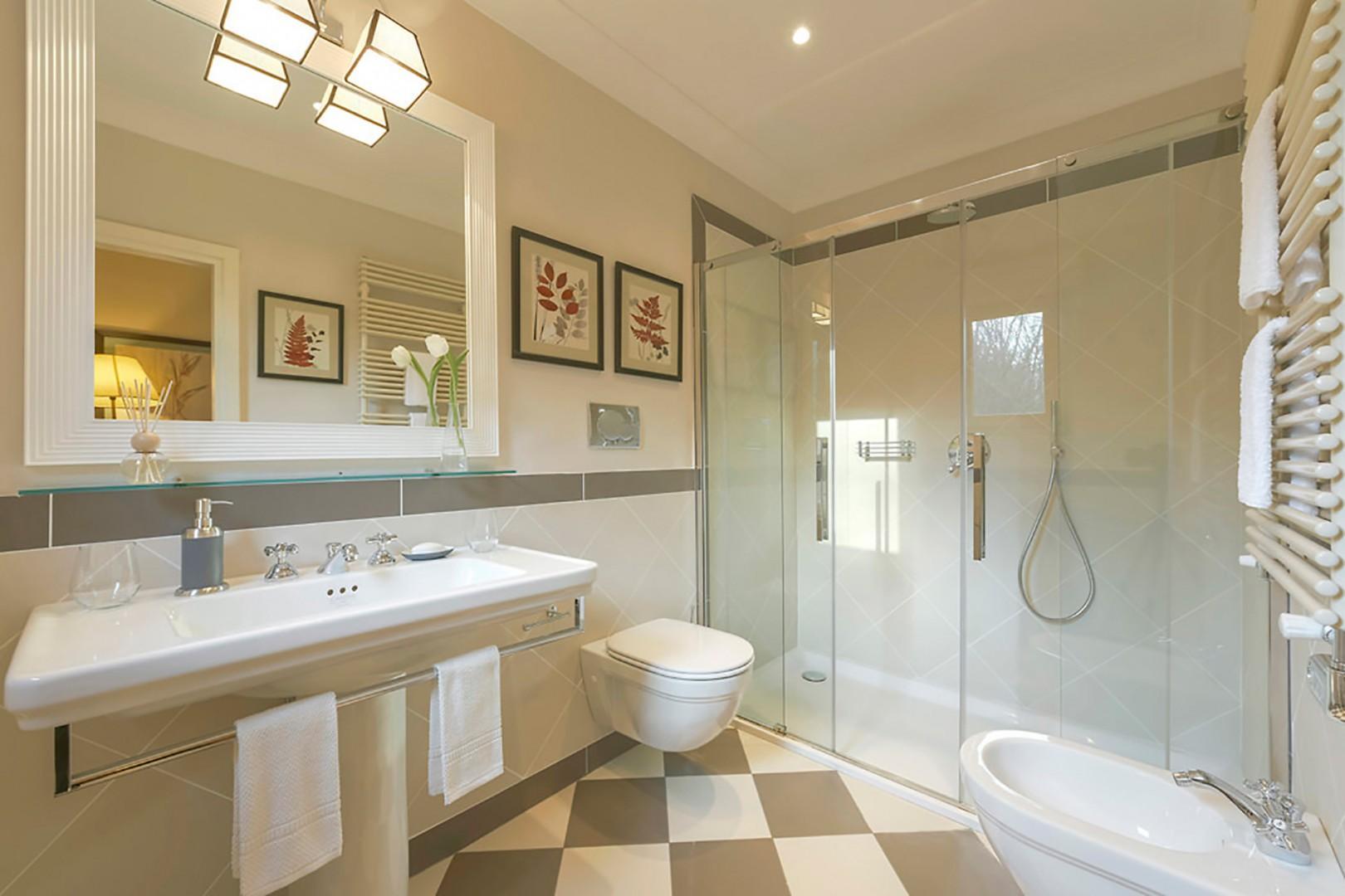 Cottage bathroom with large shower.