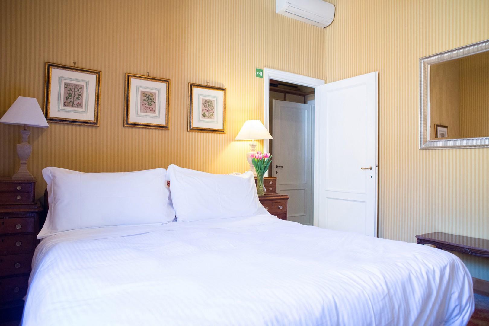Nicely done bedroom 1 overlooks Piazza Pasquino.
