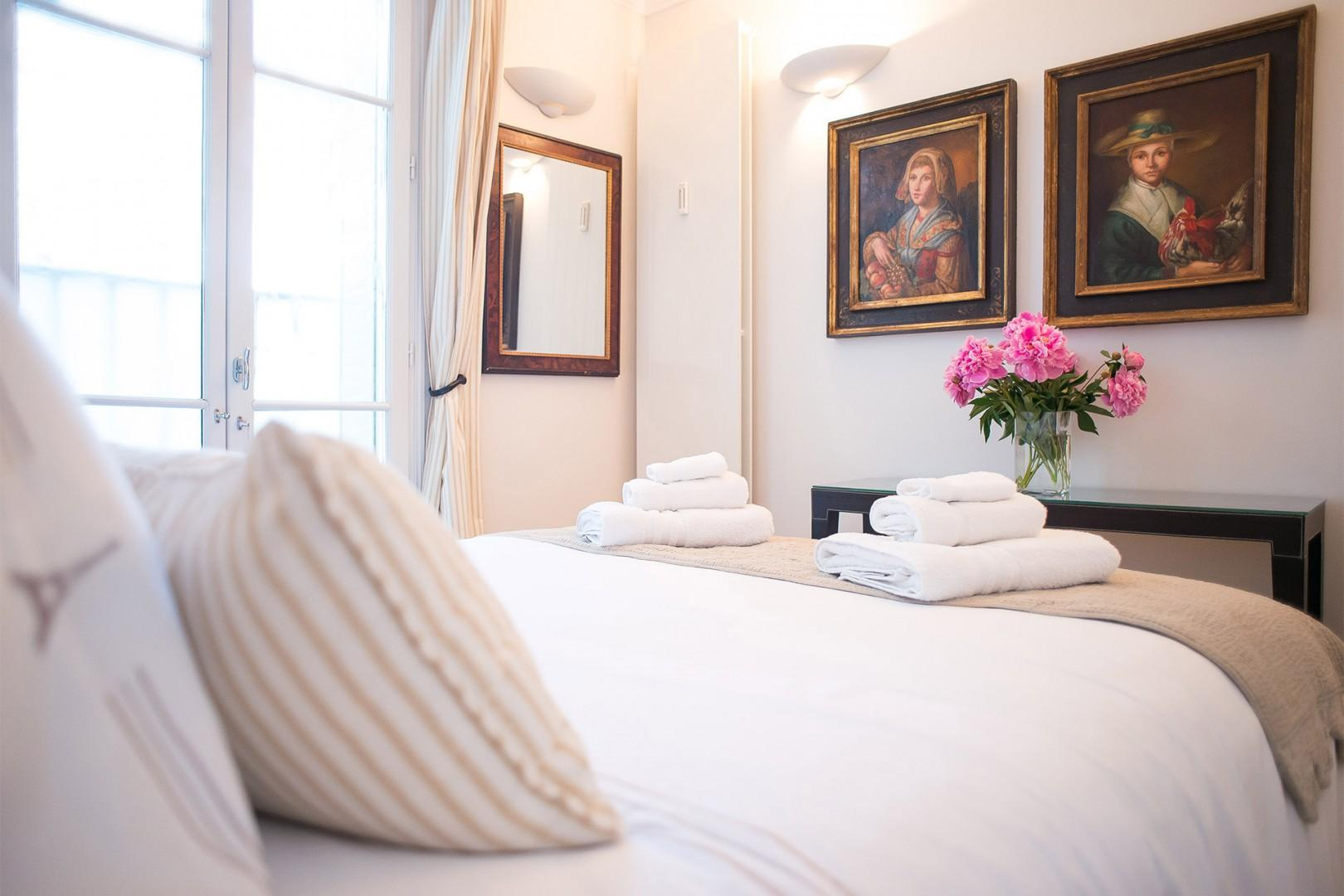 All the bedrooms are inviting and decorated with a French flair.