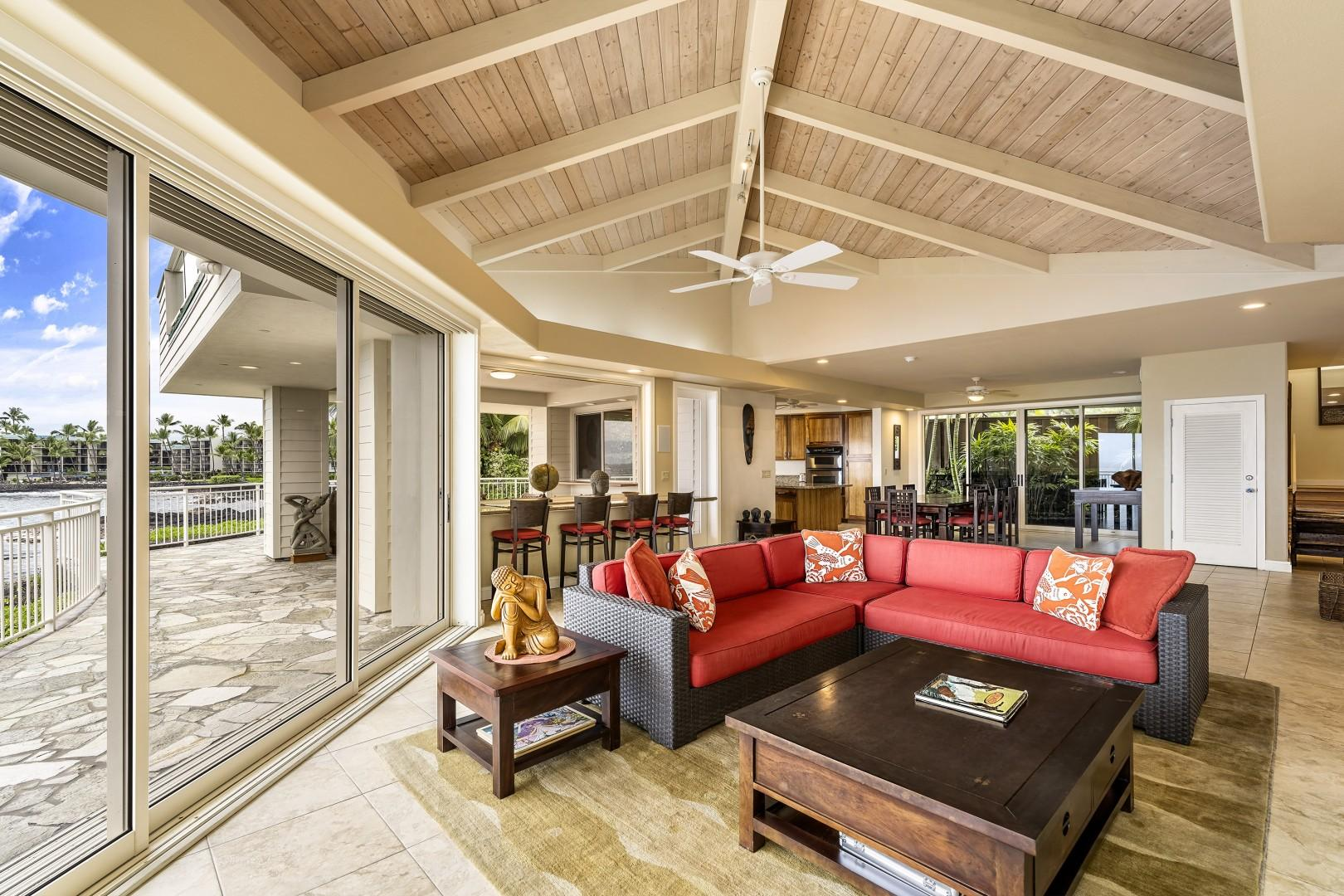 Open sightline and vaulted ceiling throughout