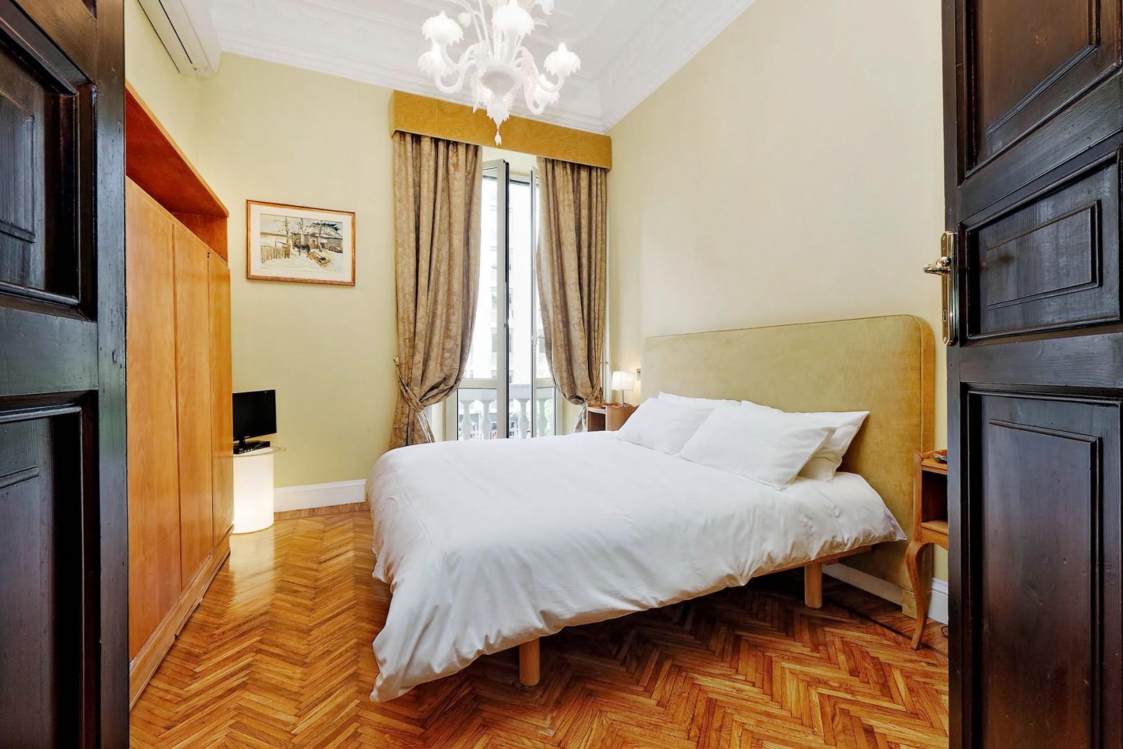 Beautiful herringbone wood floors.