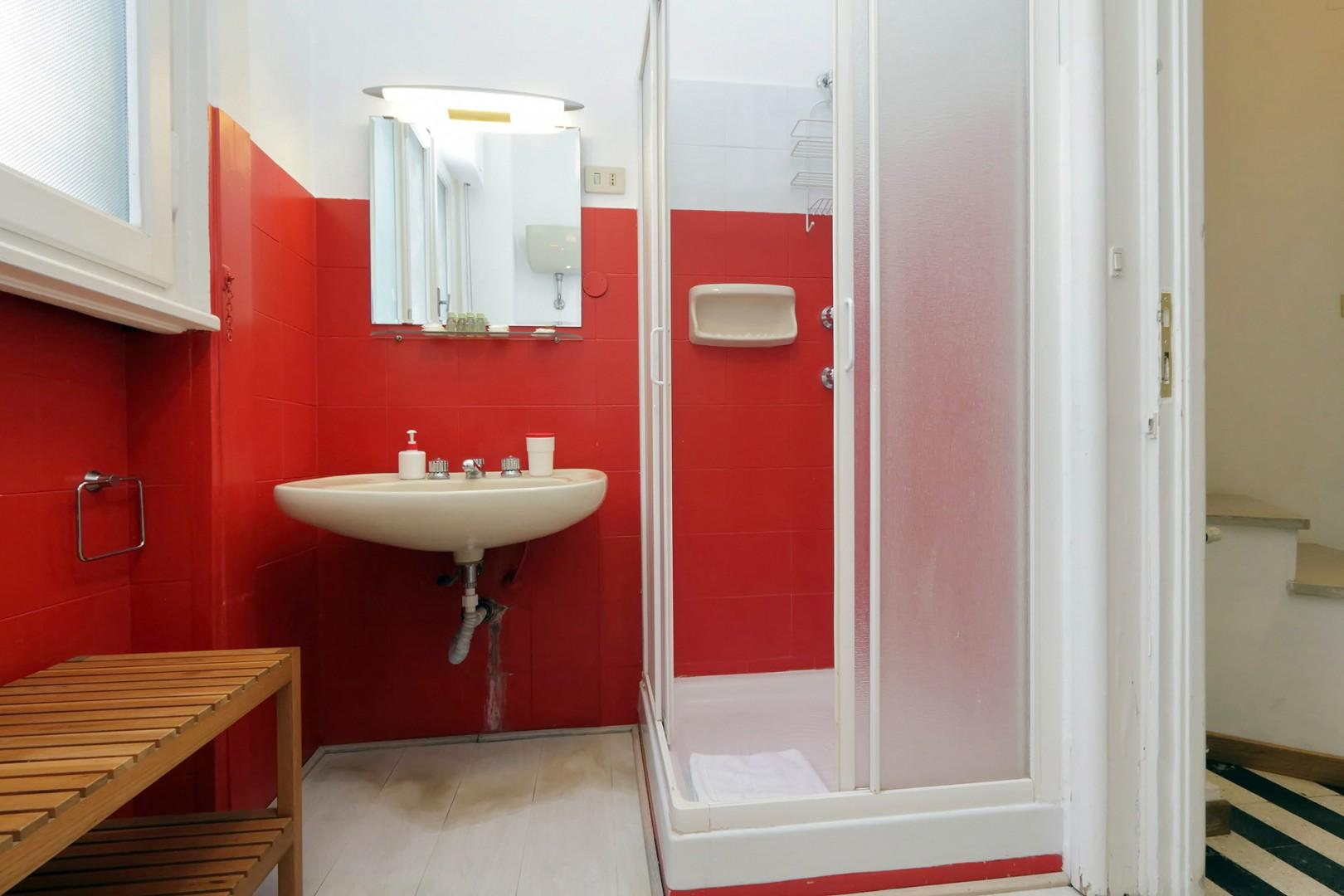 Bathroom off the entry foyer. It has an enclosed shower.