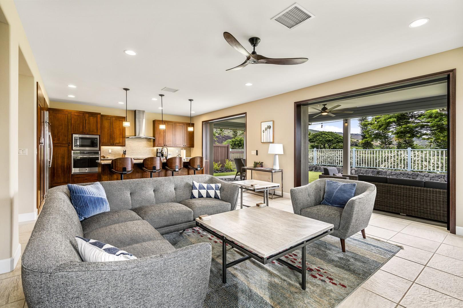 Large sliding doors to the Lanai embrace the outdoor lifestyle here in Hawaii!