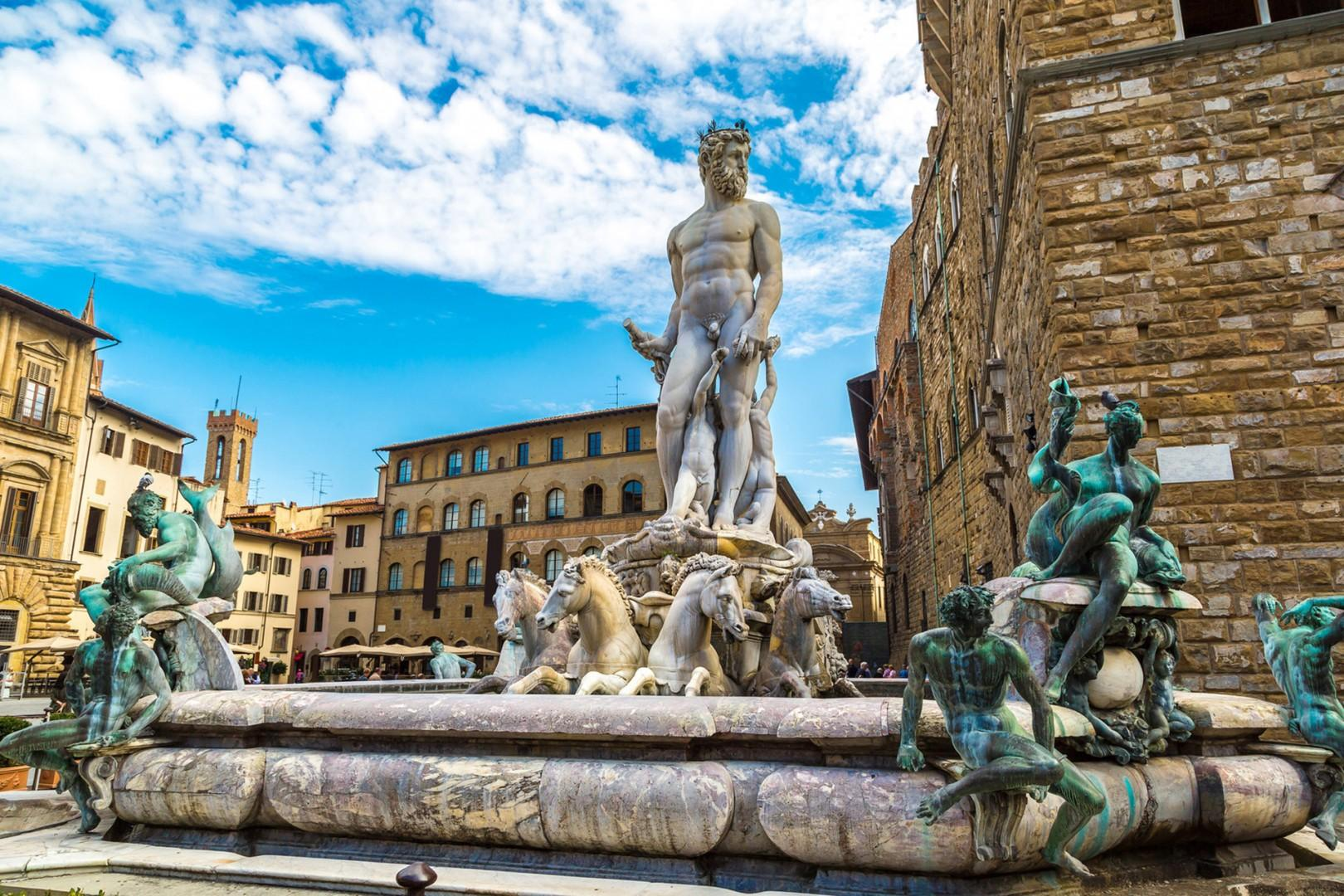 Sculptures delight all around in this piazza. This fountain celebrates first running water in 1565.