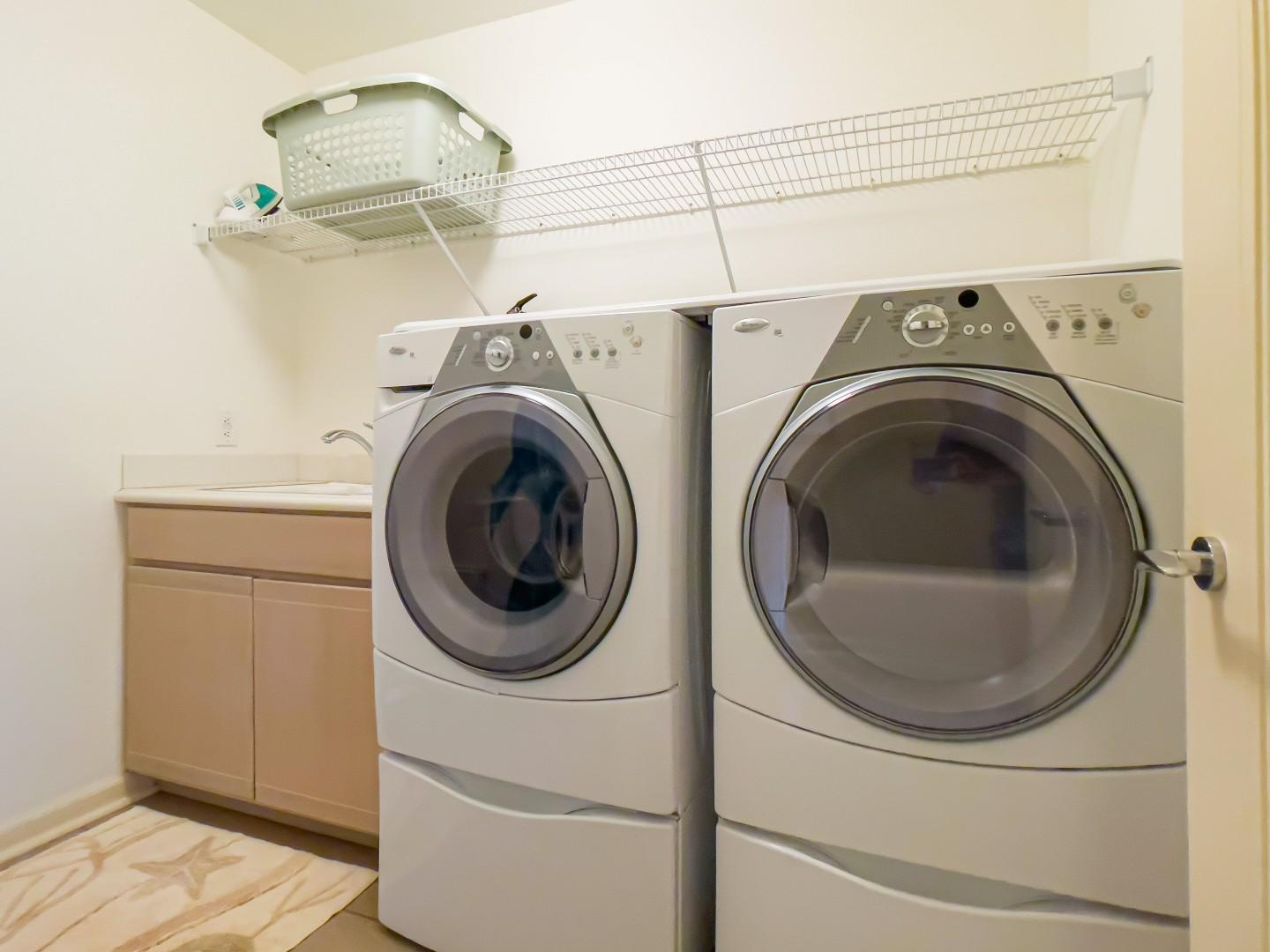 Spacious & Convenient Downstairs Laundry Room w/ Iron & Ironing Board