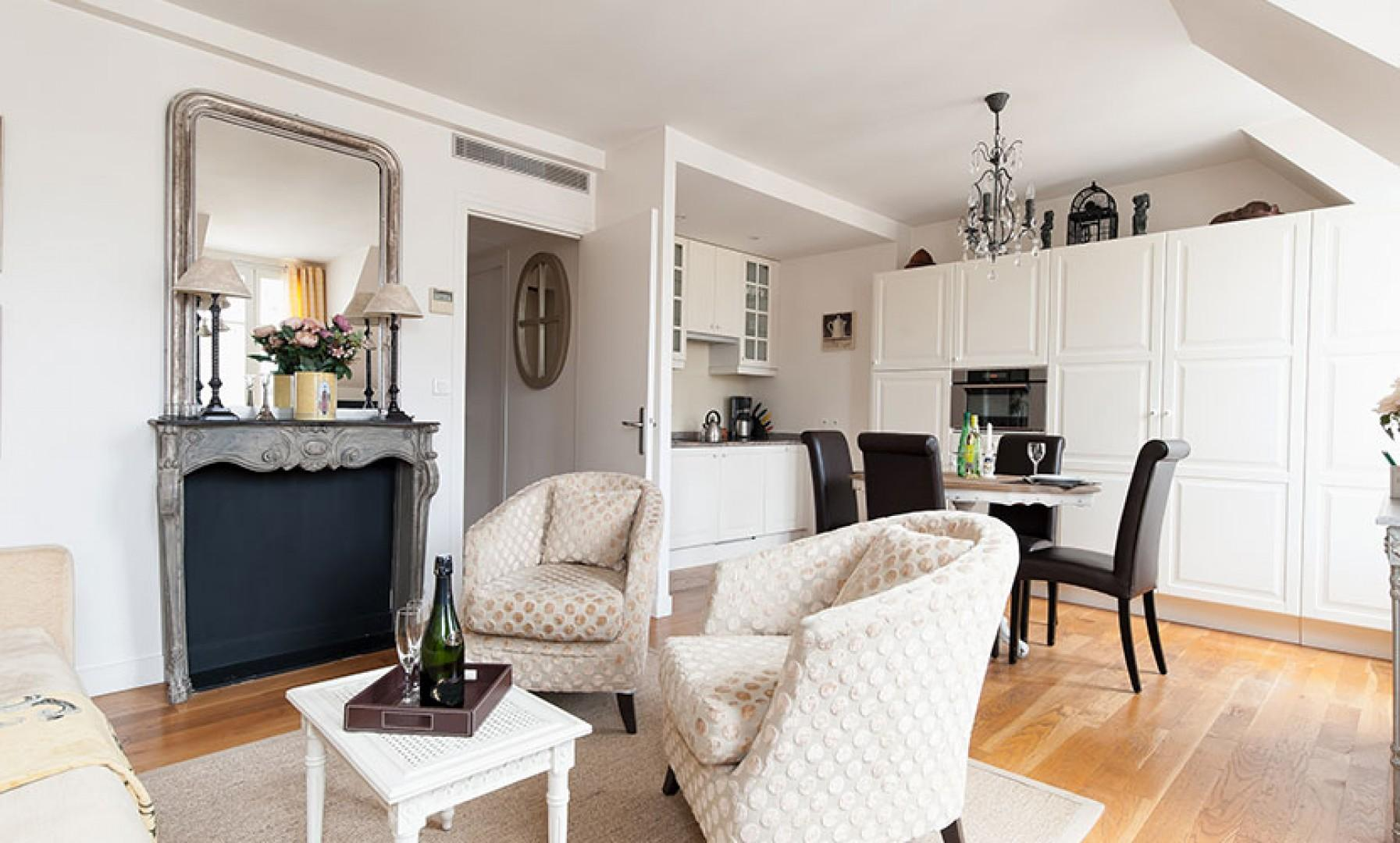 The kitchen, living and dining areas flow seamlessly.