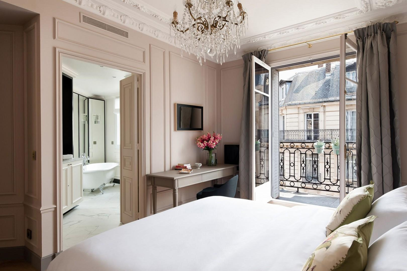 The large French window in bedroom 1 lets in lots of light.