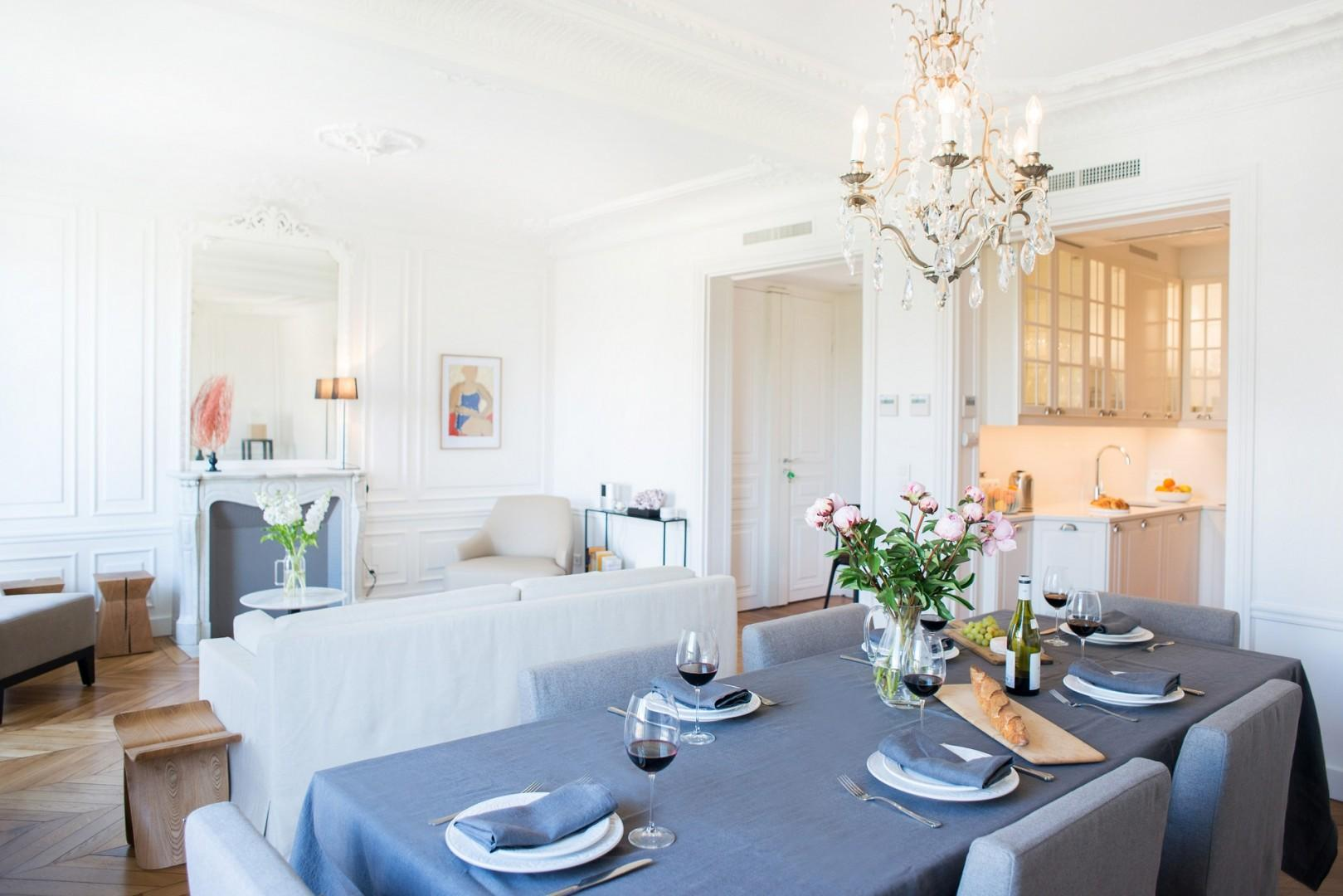 Dining at home is a pleasure in this luxury apartment.