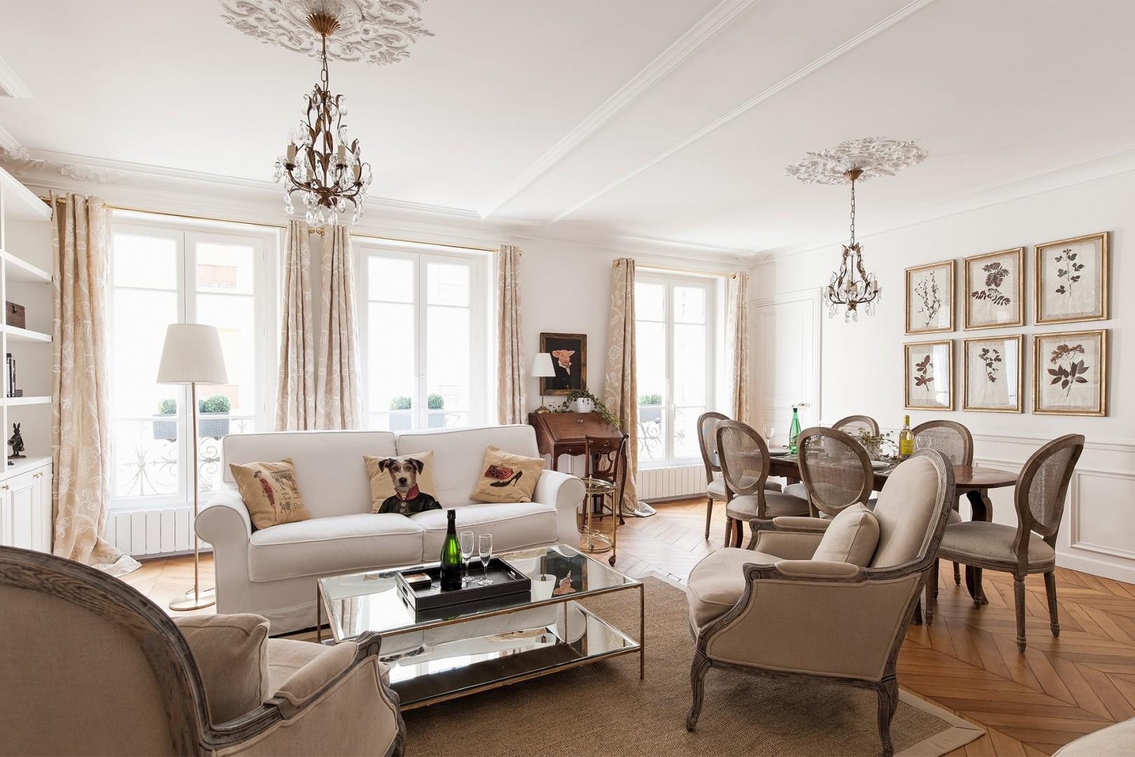 The living room and dining room merge into one gorgeous space.