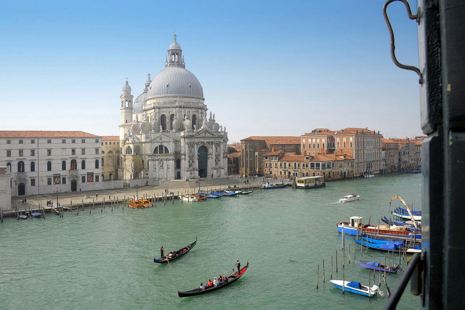 Bedroom and living room view of the cathedral of Santa Maria della Salute across the Grand Canal.