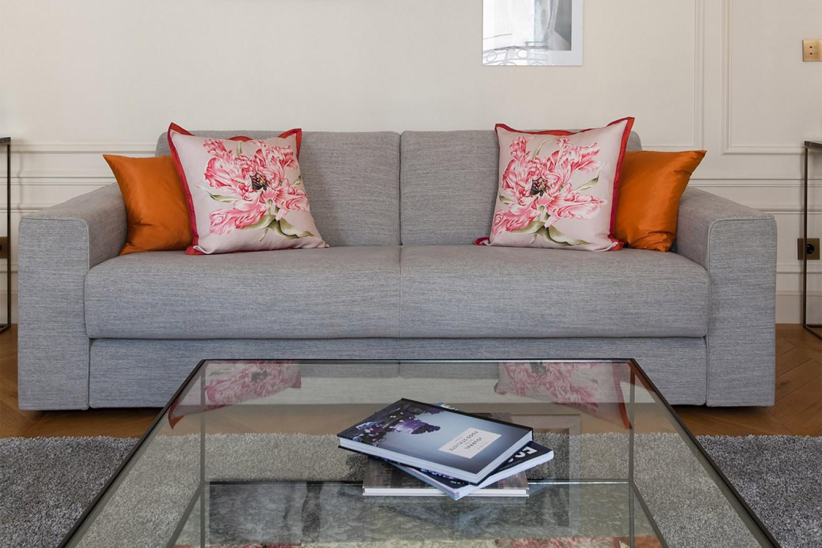 The sofa converts into a comfortable bed for extra guests.