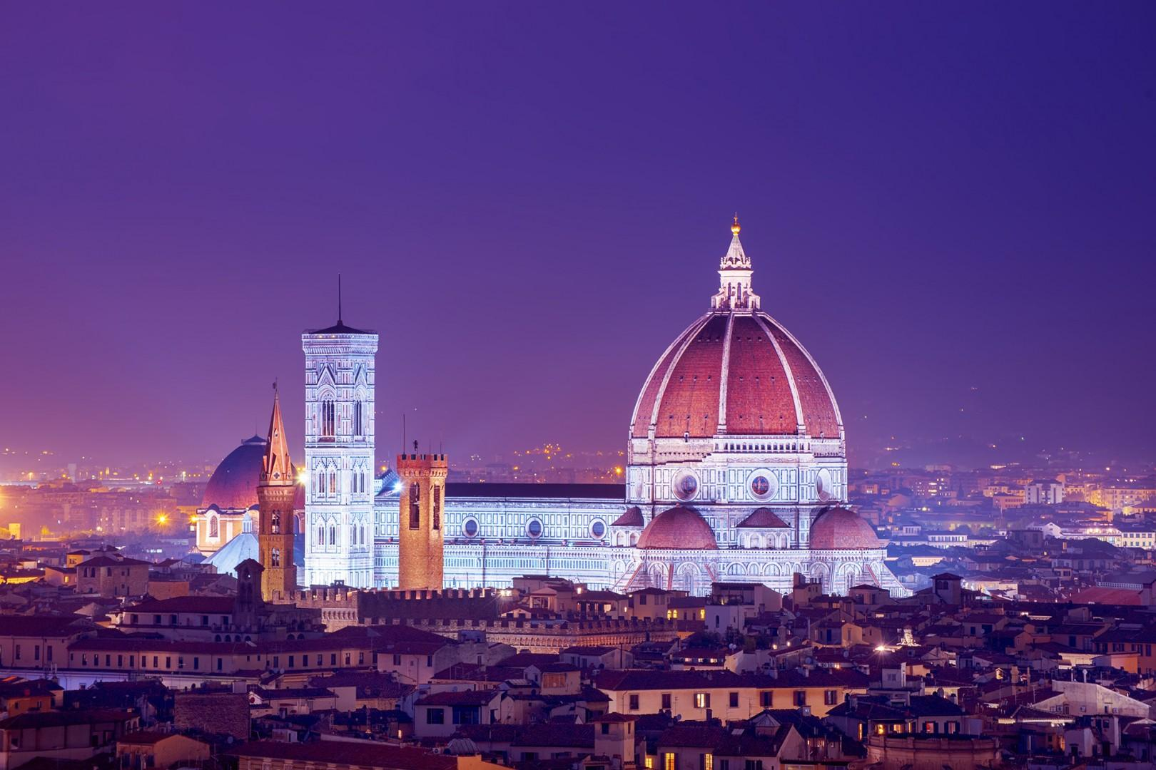 The Duomo, the cathedral Santa Maria del Fiore, glows and welcomes you to the City of Flowers.
