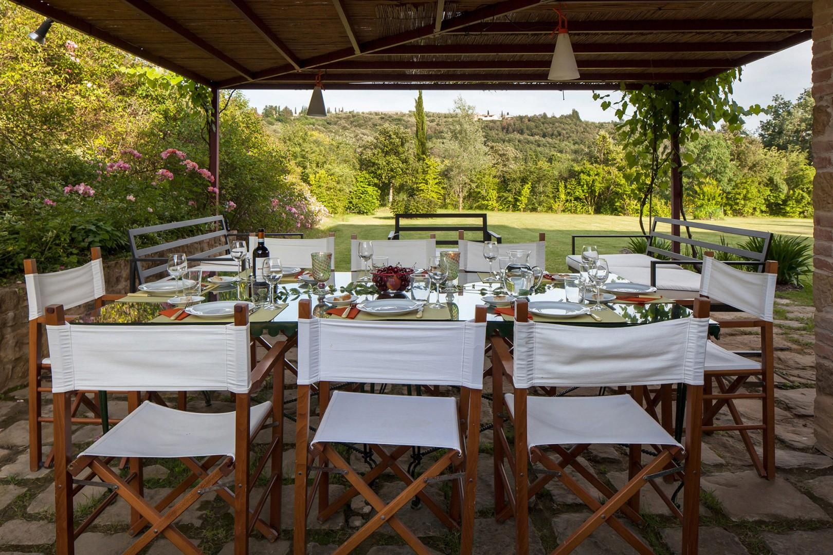 Dining table at the poolside terrace.