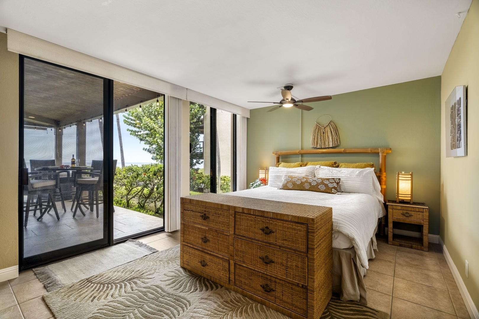 Primary bedroom with King bed, ocean views, Lanai access and shoji doors
