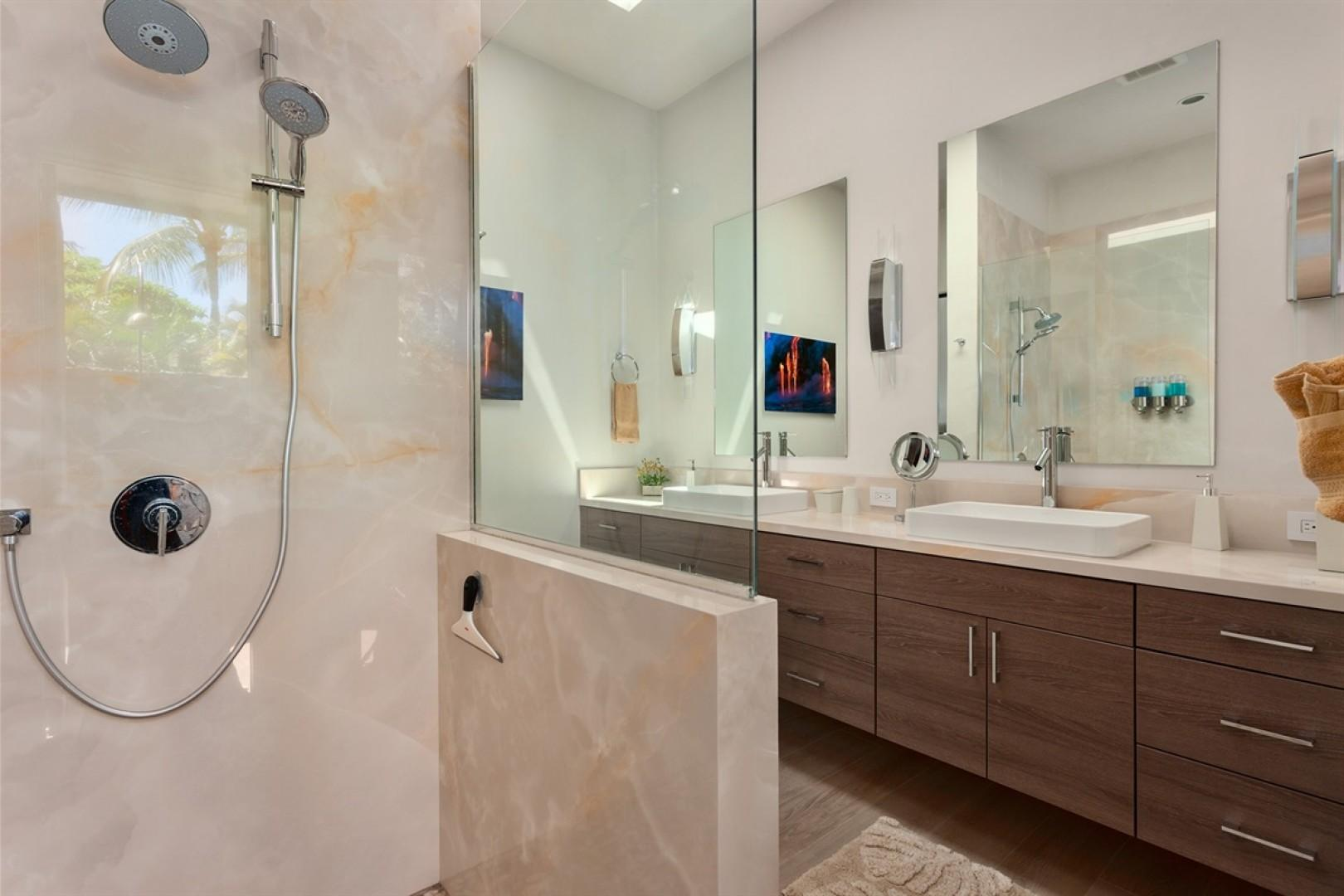 Master Suite 2 bath with dual vanity, walk-in shower and outdoor shower.