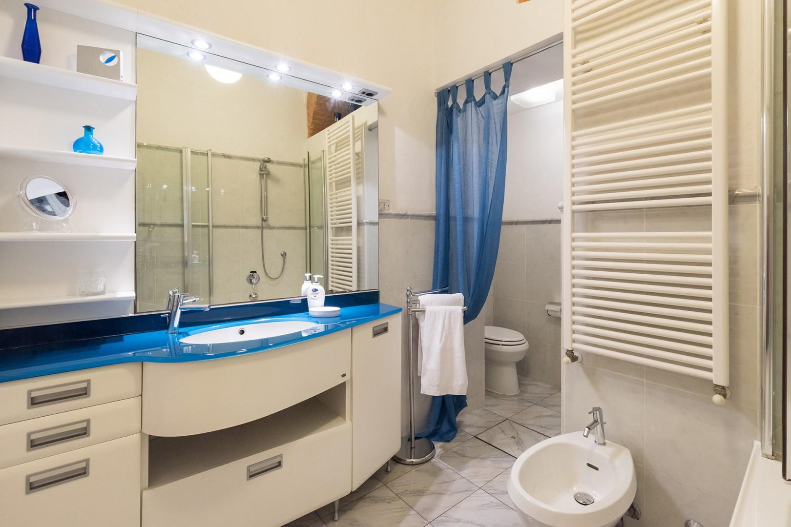 Light and airy bathroom with toilet, bidet and full size bathtub with glass shower enclosure.