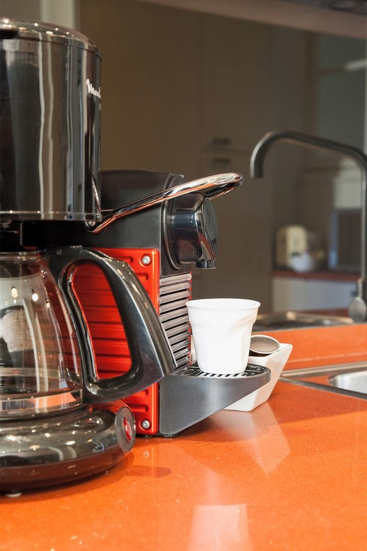 Enjoy home-brewed coffee in the morning.