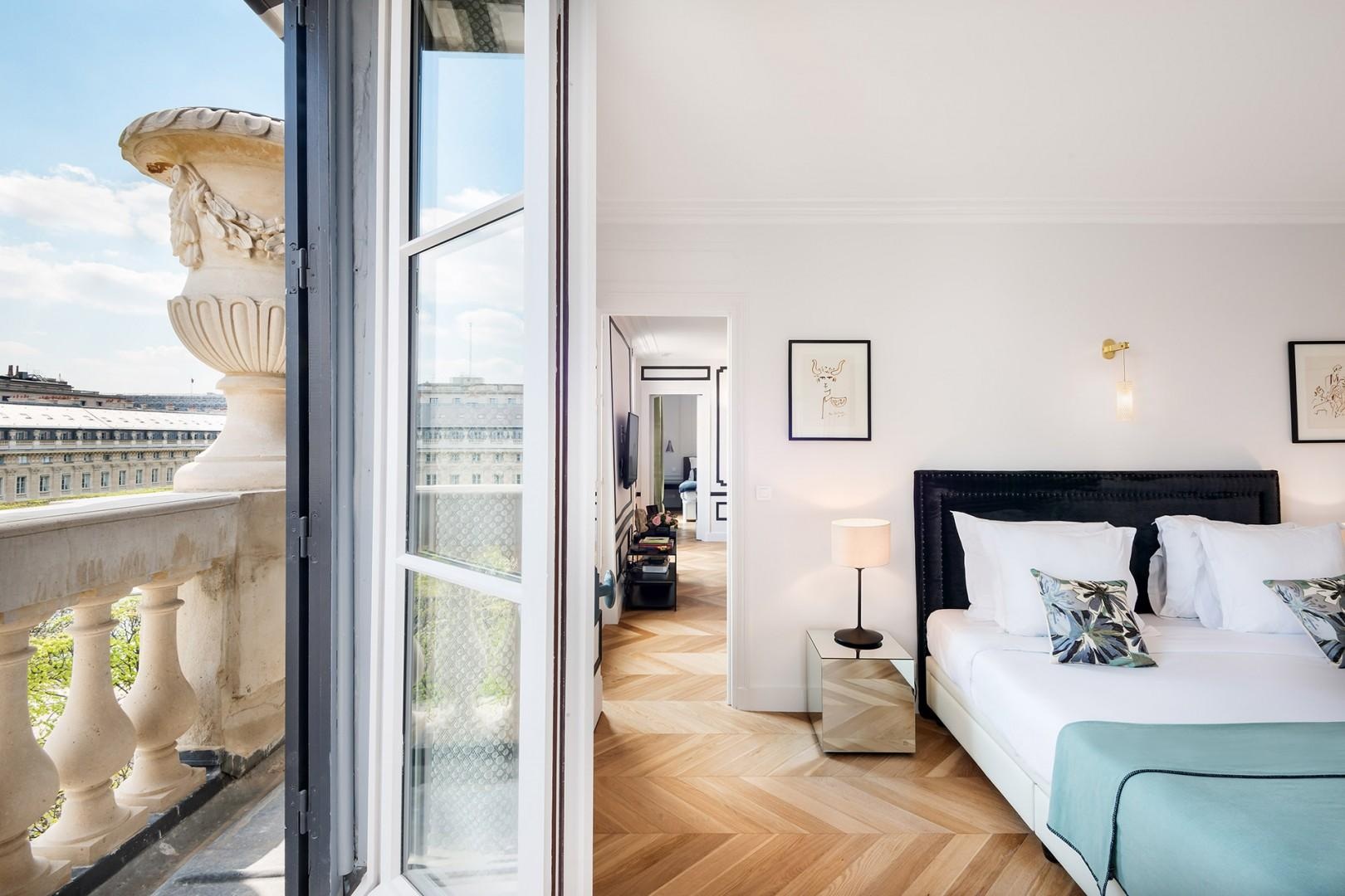 Large French windows let in lots of natural light.