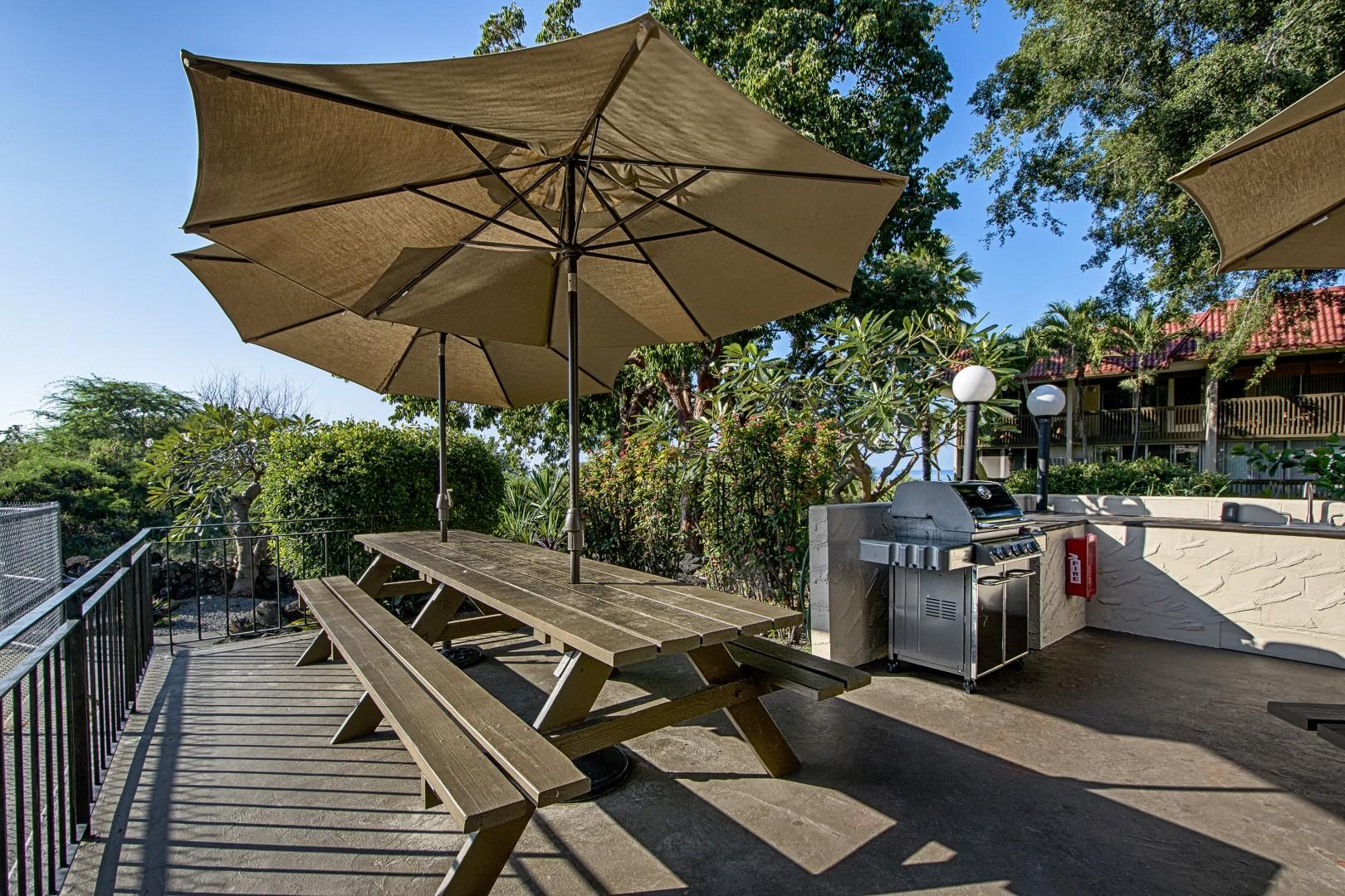 Picnic tables for guests to utilize