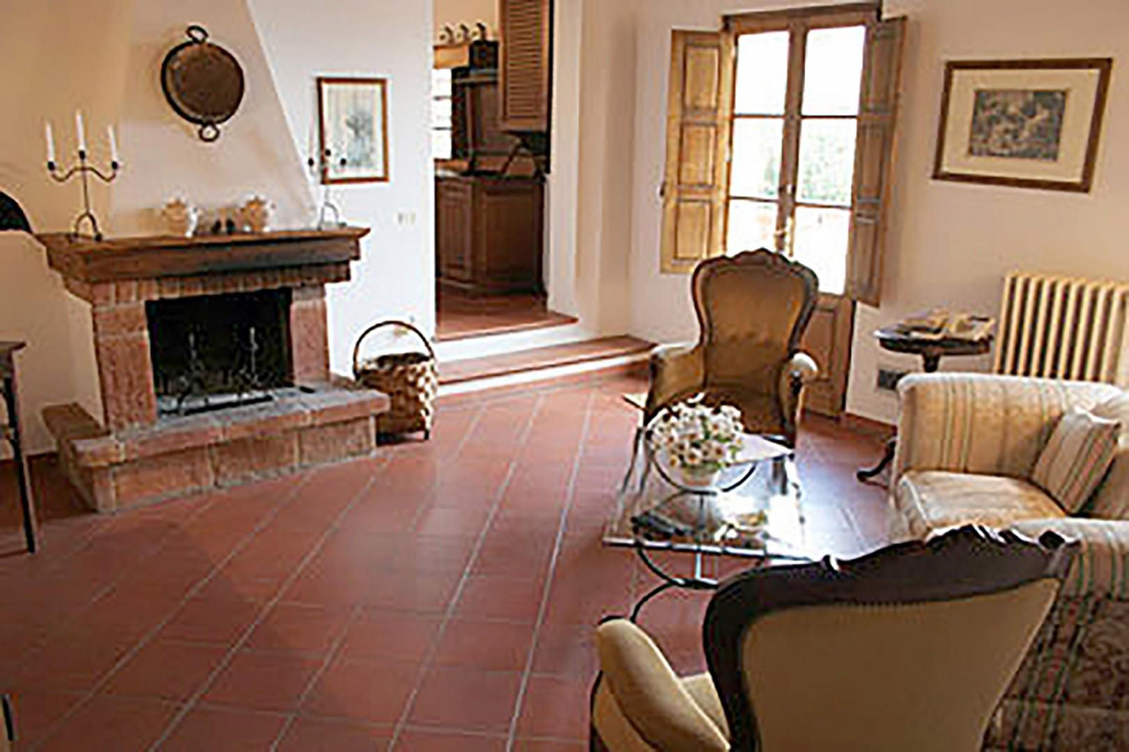 Loggetta's spacious living room and working fireplace.