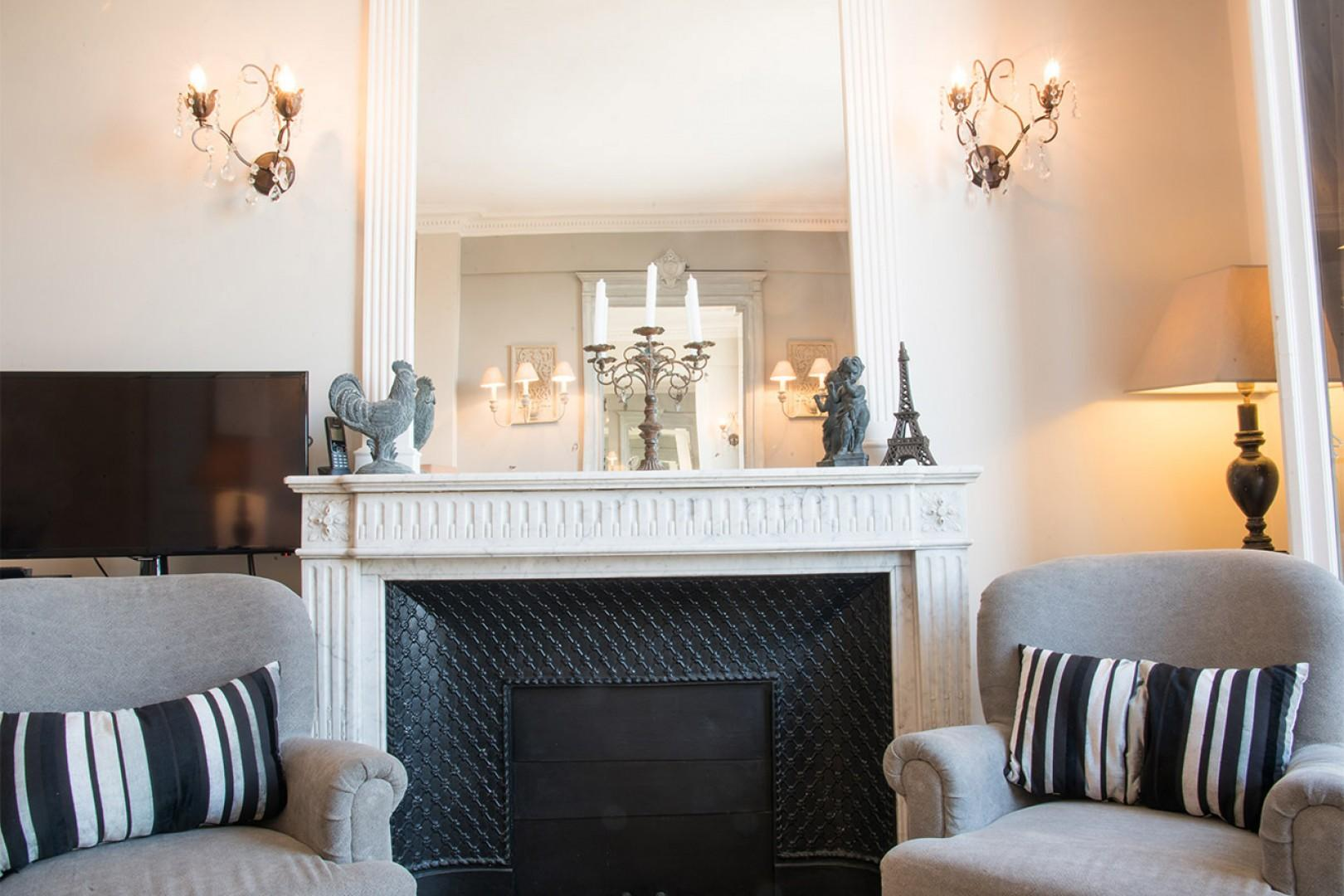 There is ample seating in the living room for all your guests.