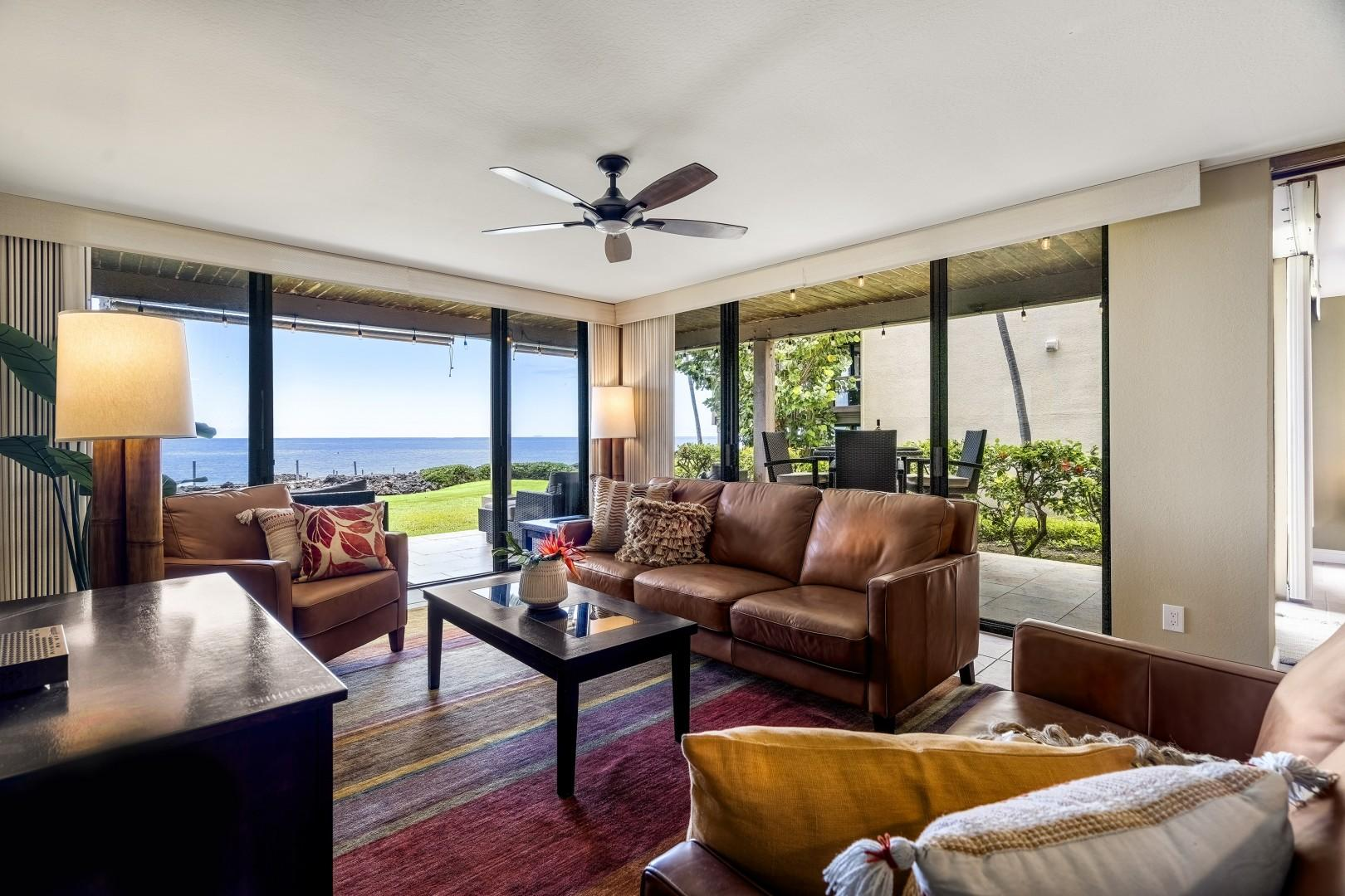Large sliding doors bring in natural light and access to the Lanai!
