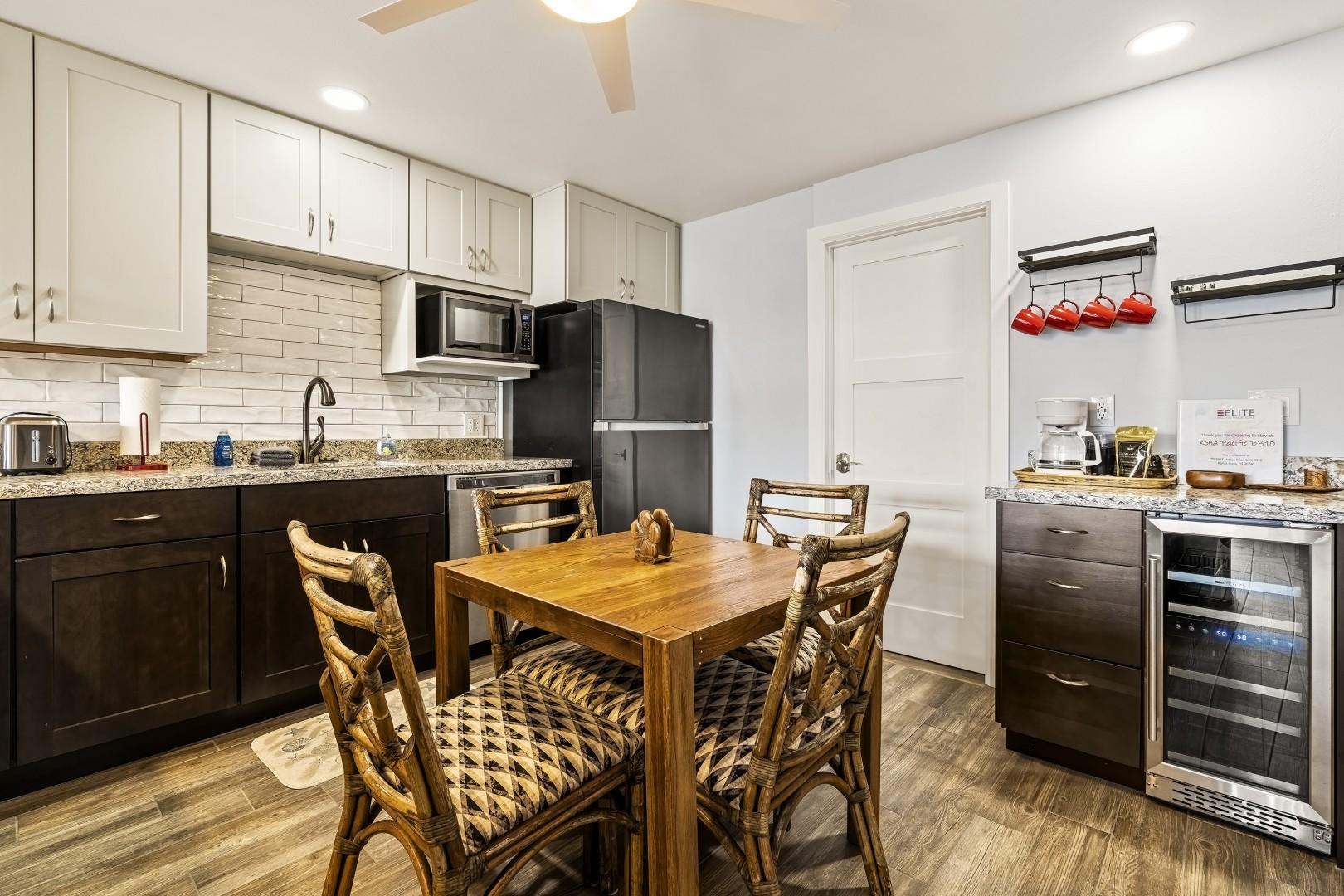 Indoor dining in the spacious kitchen