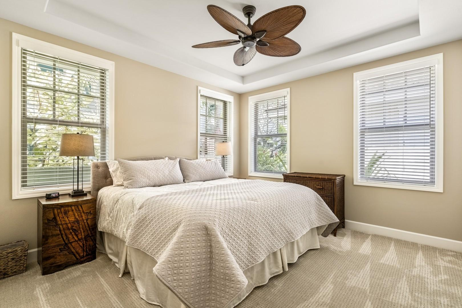 Guest bedroom equipped with King bed, A/C, and TV