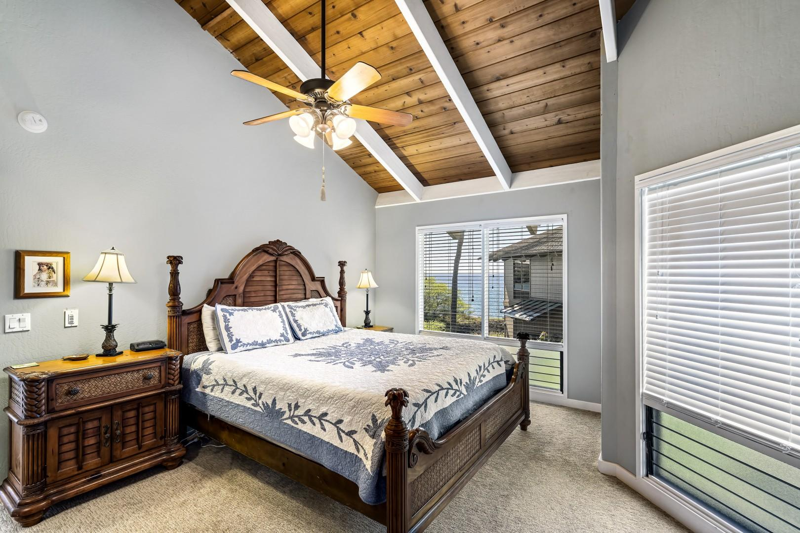 Master bedroom equipped with A/C, TV, Ocean views, and ensuite