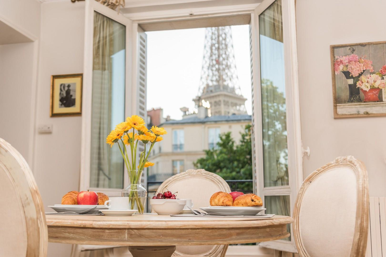 Enjoy a Parisian breakfast with a view in your apartment.
