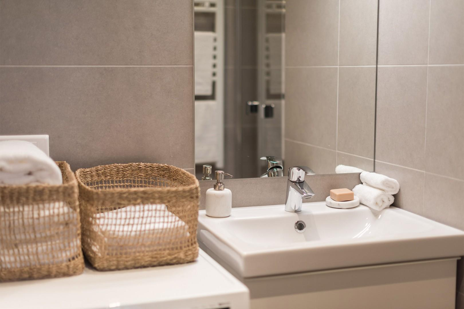Pamper yourself in the modern and stylish bathroom.
