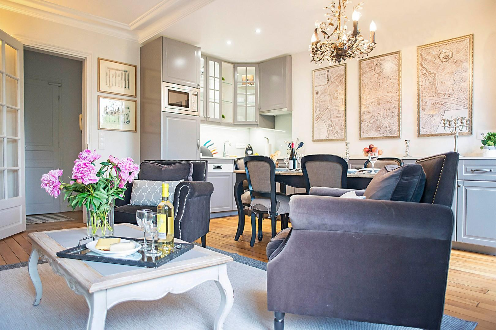 The large living and dining area is perfect for entertaining family and friends.