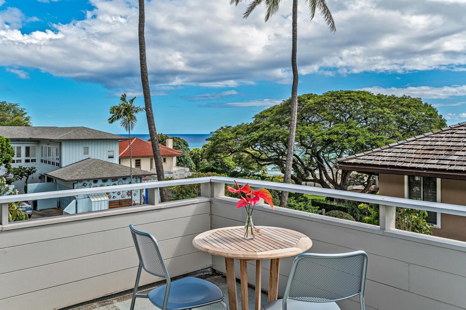 Balcony seating off master bedroom, ocean views