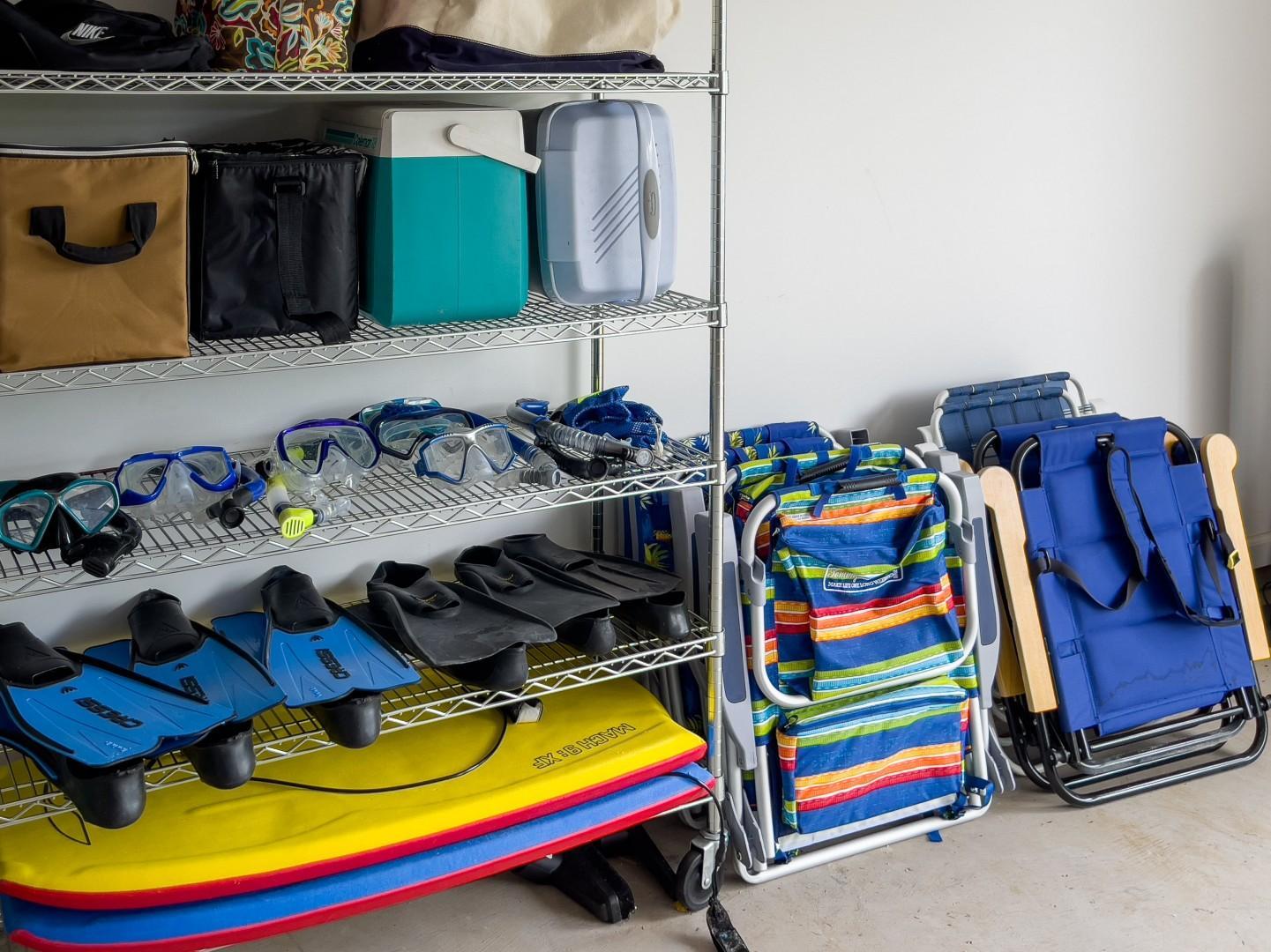Generous Supply of Beach Gear in the Garage